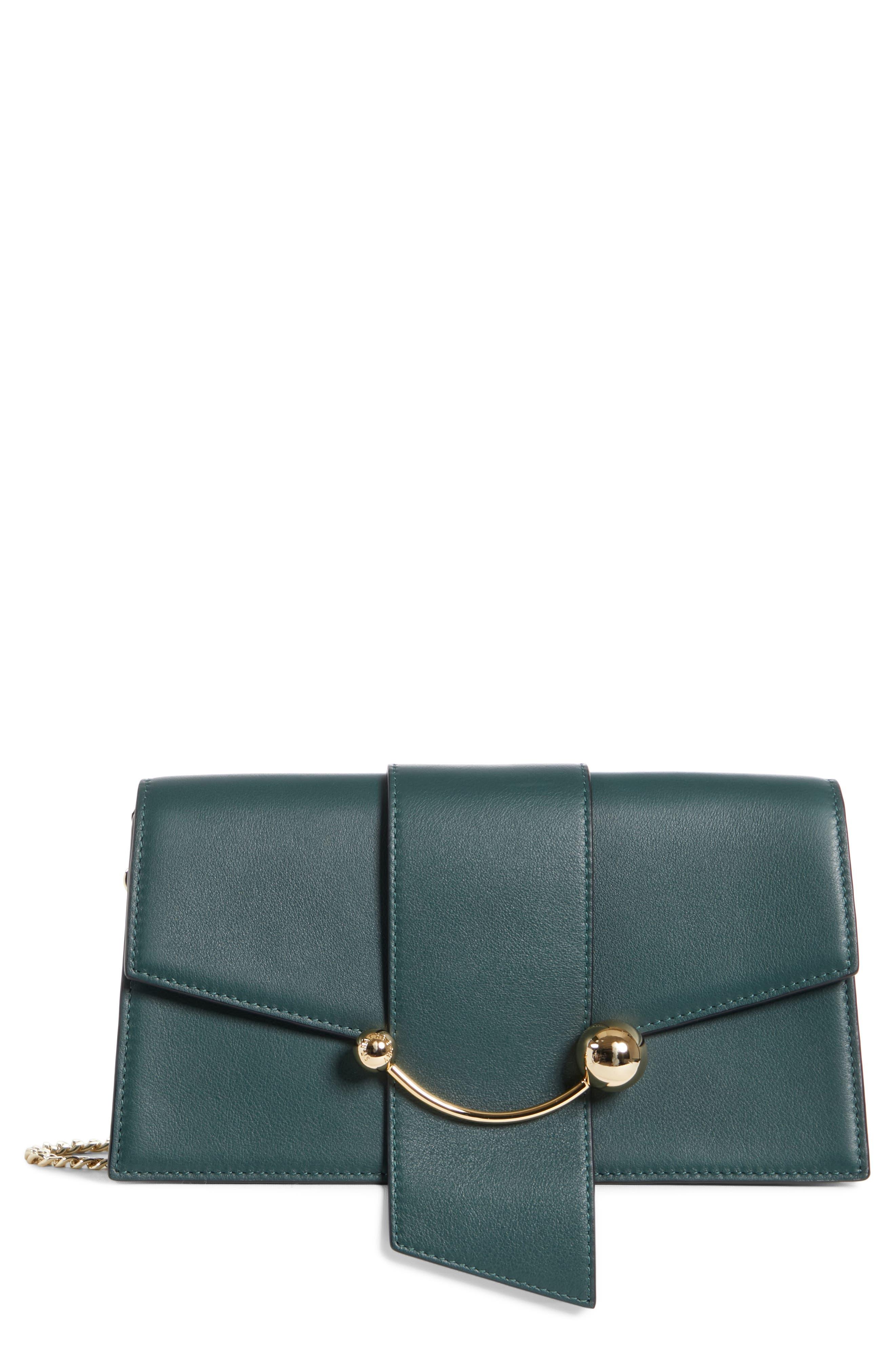 Mini Crescent Leather Clutch,                         Main,                         color, BOTTLE GREEN