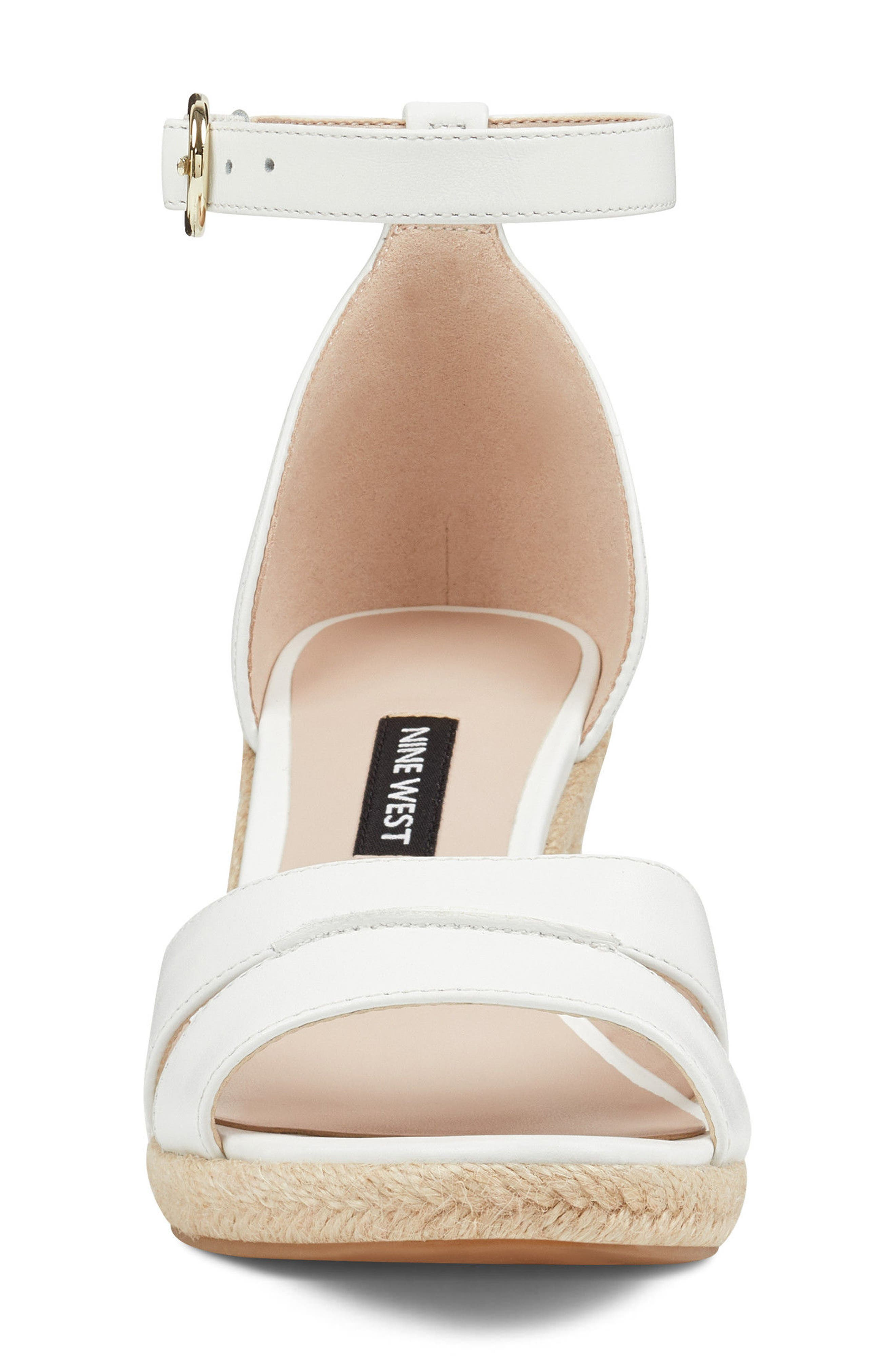 Jeranna Espadrille Wedge Sandal,                             Alternate thumbnail 4, color,                             WHITE LEATHER