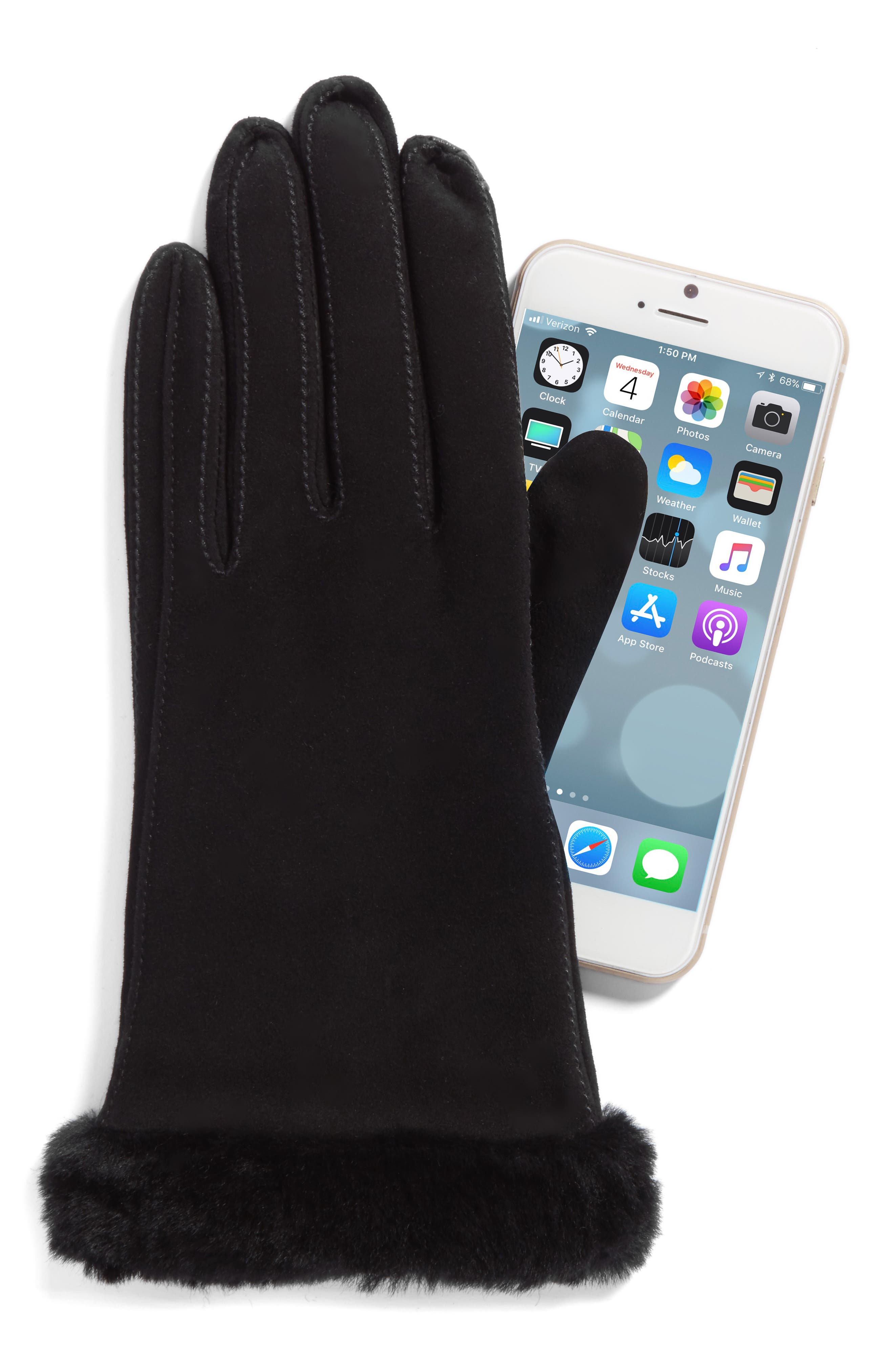 Classic Suede Tech Gloves with Genuine Shearling Trim,                             Alternate thumbnail 3, color,
