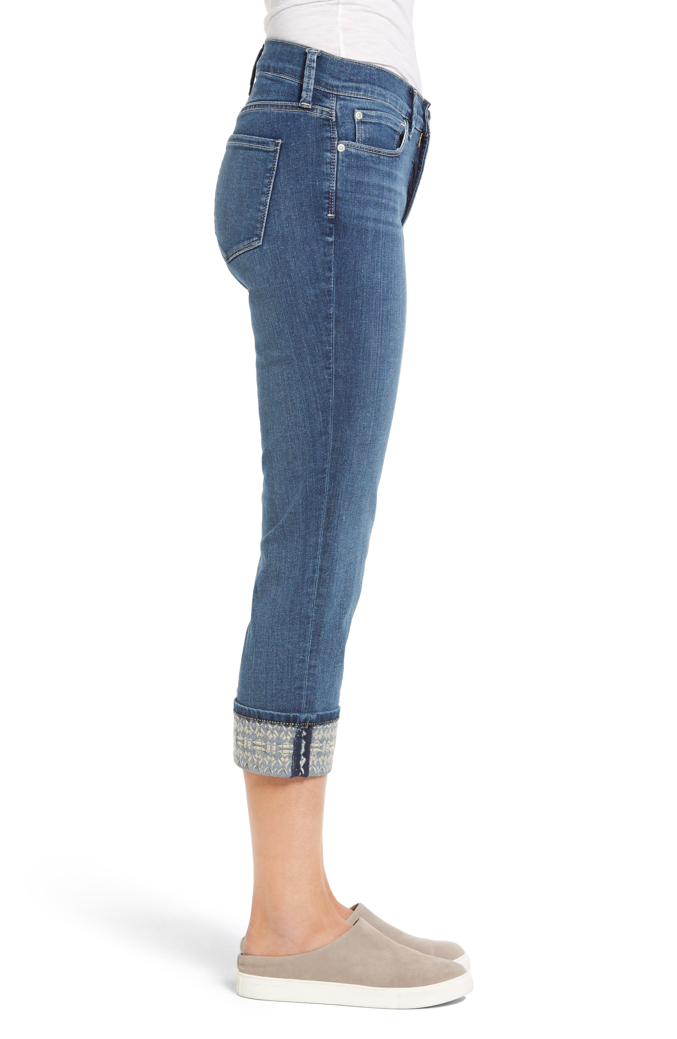 Dayla Embroidered Wide Cuff Capri Jeans,                             Alternate thumbnail 3, color,                             421