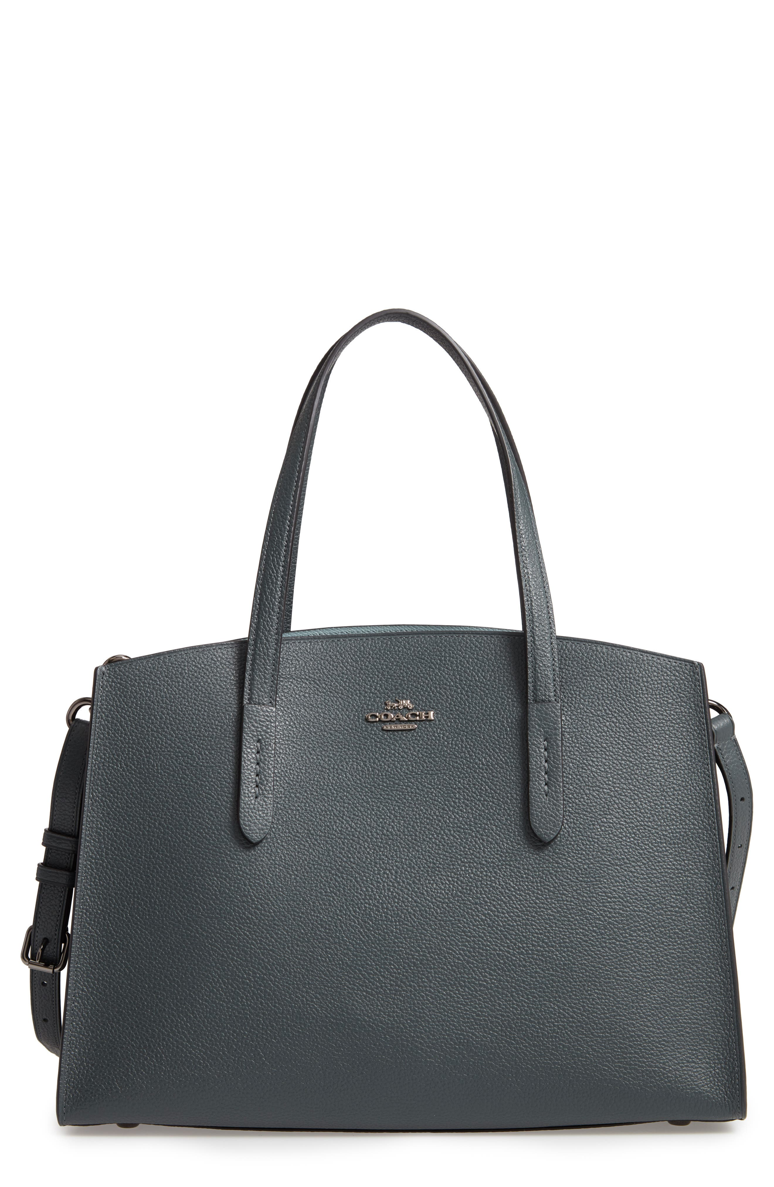 Charlie Leather Tote,                         Main,                         color, CYPRESS
