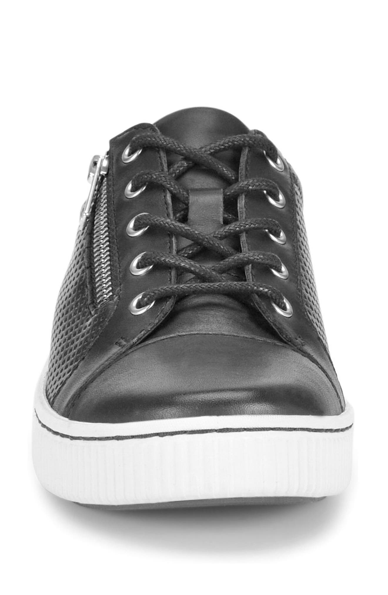 Tamara Perforated Sneaker,                             Alternate thumbnail 4, color,                             BLACK LEATHER