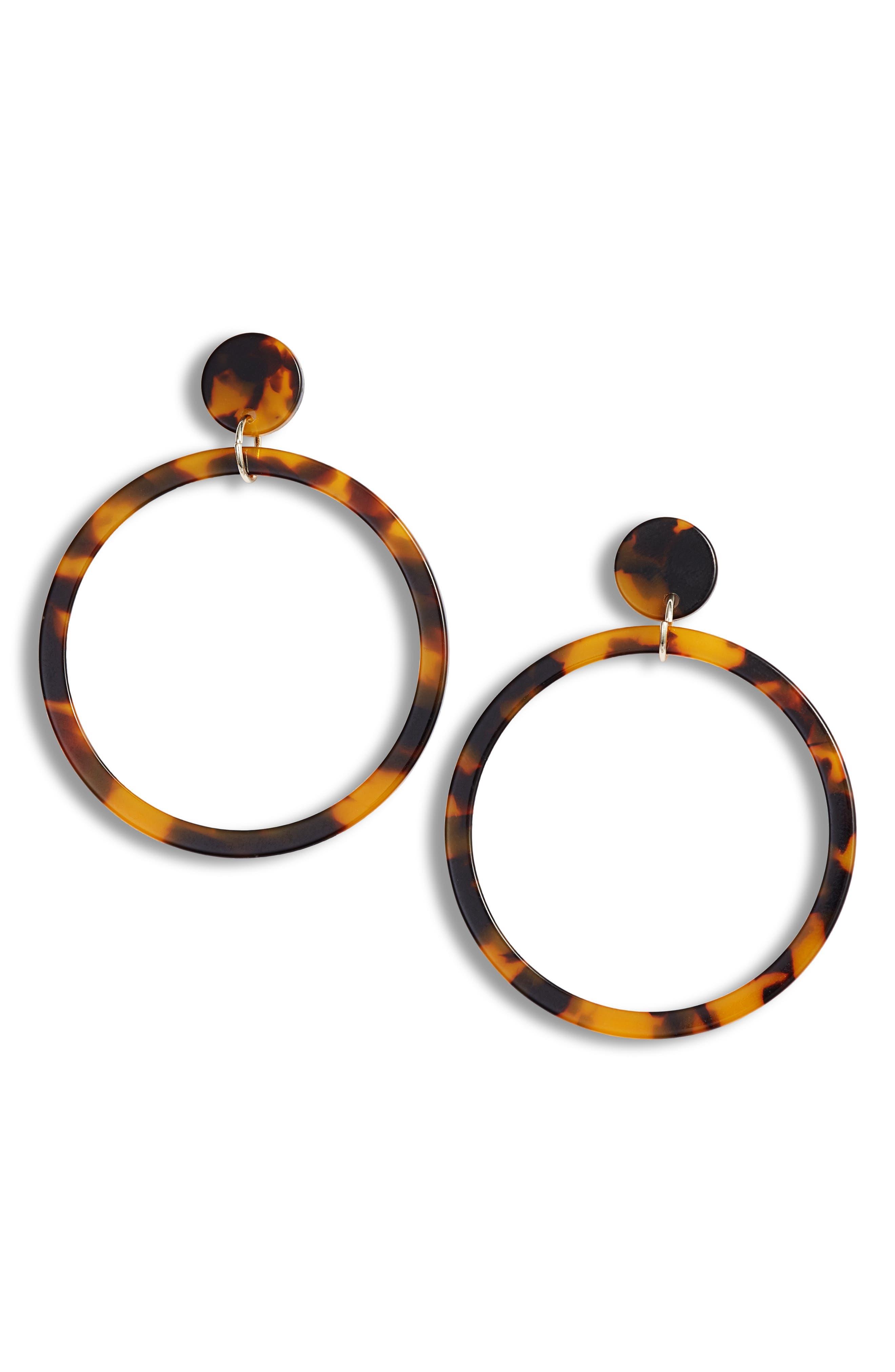 STERLING FOREVER Stud Hoop Earrings, Main, color, TORTOISE