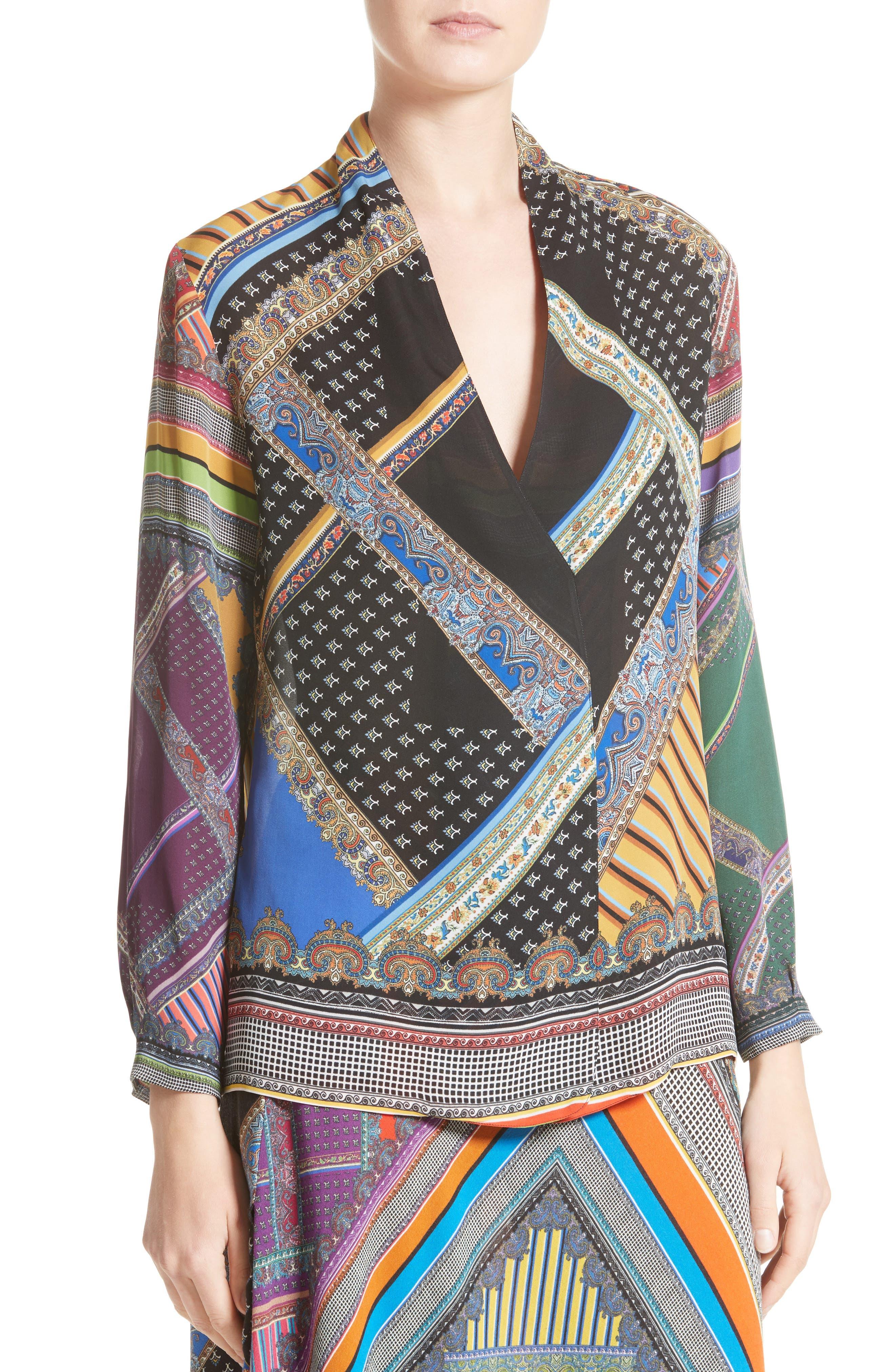Patchwork Print Silk Faux Wrap Blouse,                             Alternate thumbnail 4, color,                             001