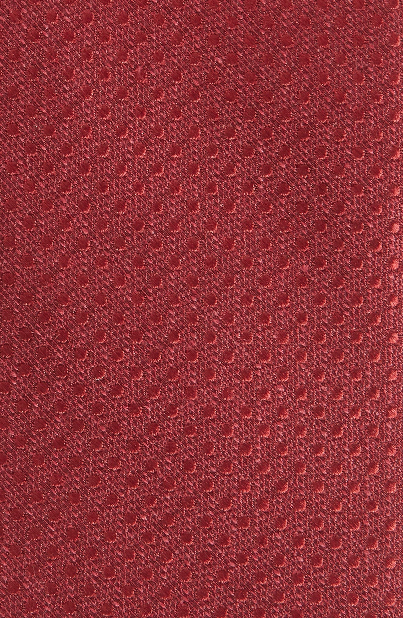 Spin Dot Silk & Cotton Tie,                             Alternate thumbnail 2, color,                             BURGUNDY