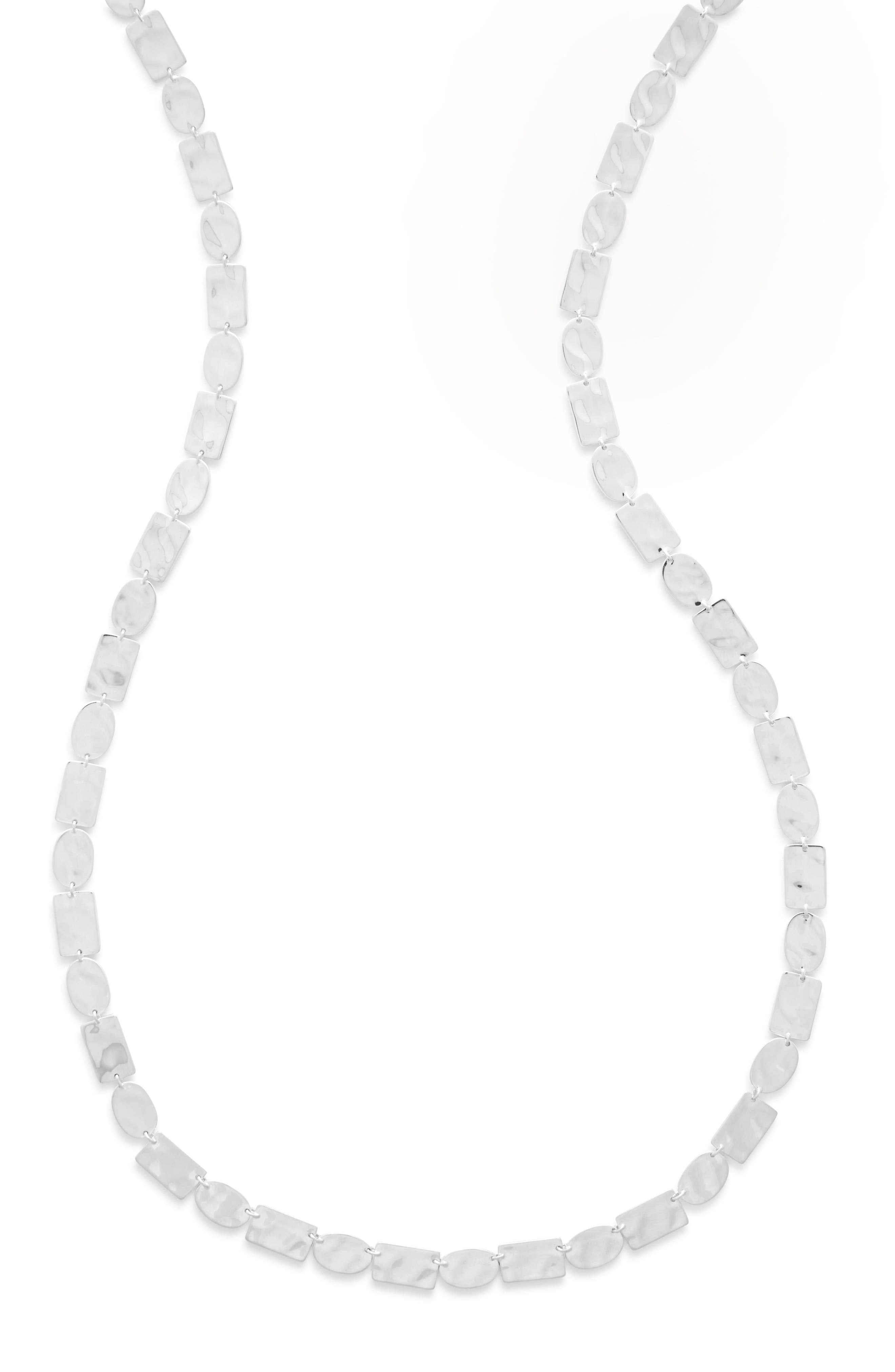Senso Sterling Disc Necklace,                             Alternate thumbnail 2, color,                             SILVER
