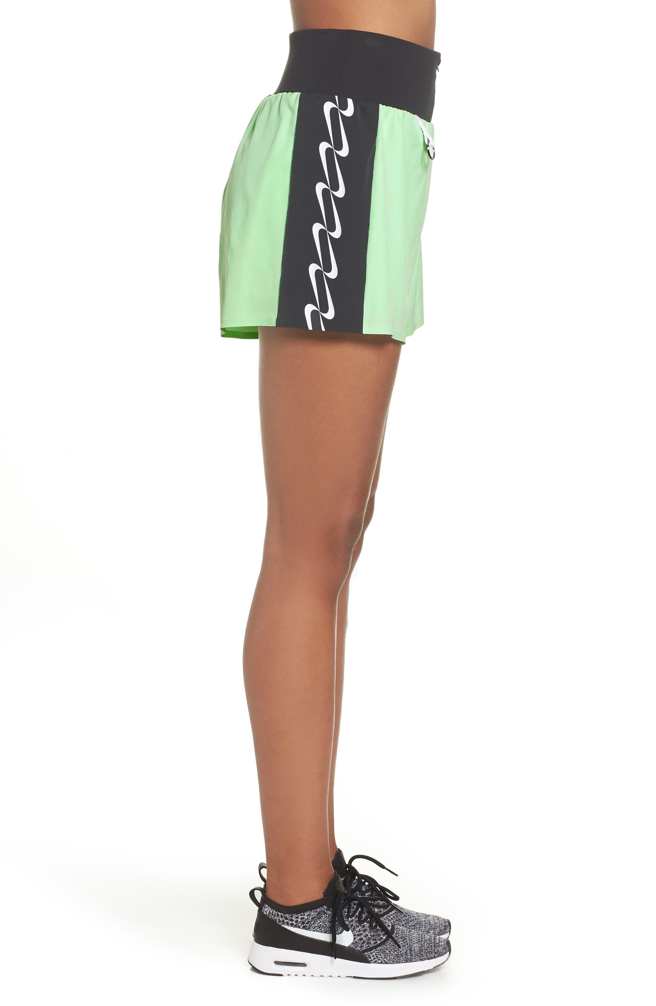 NRG Women's Dri-FIT Running Shorts,                             Alternate thumbnail 3, color,                             VAPOR GREEN/ BLACK/ WHITE