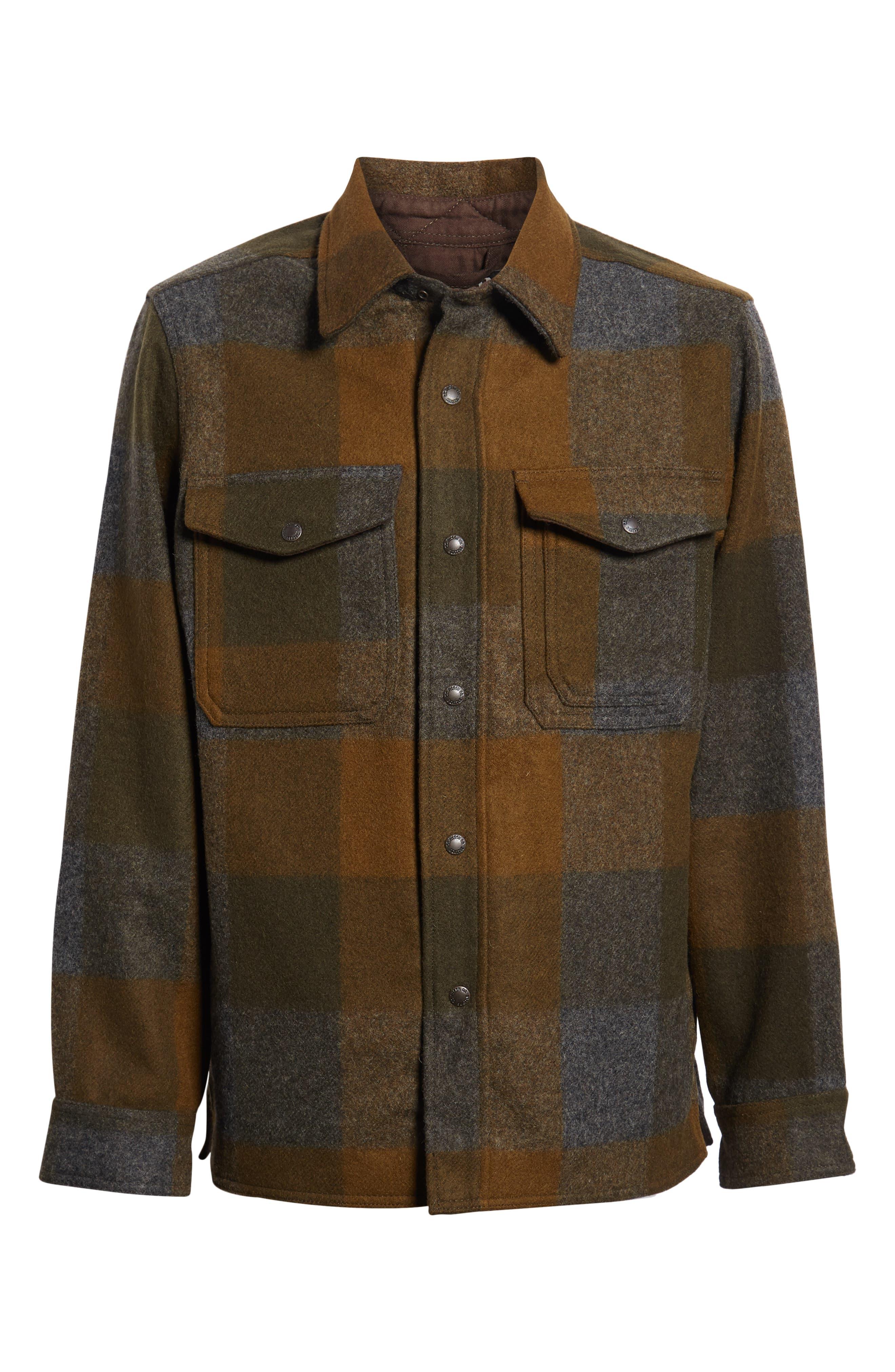 Mackinaw Plaid Wool Flannel Shirt Jacket,                             Alternate thumbnail 6, color,                             233
