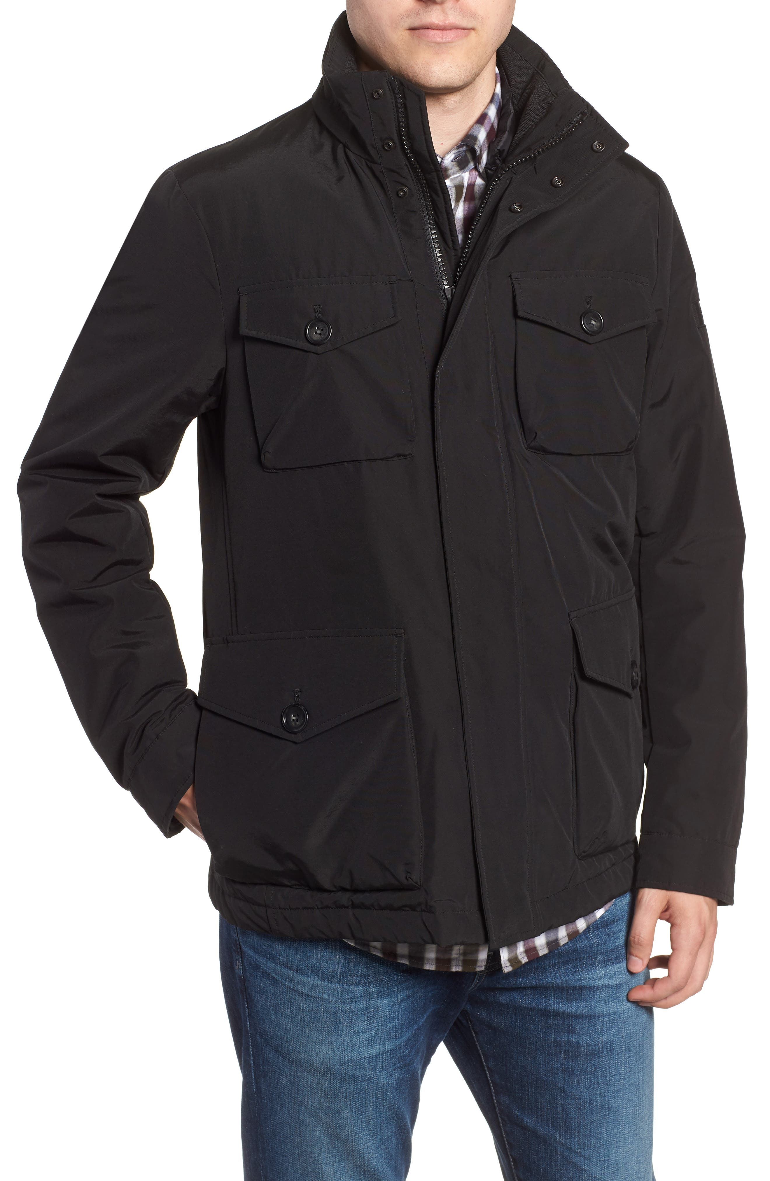 Camou Field Jacket,                             Alternate thumbnail 4, color,                             BLACK