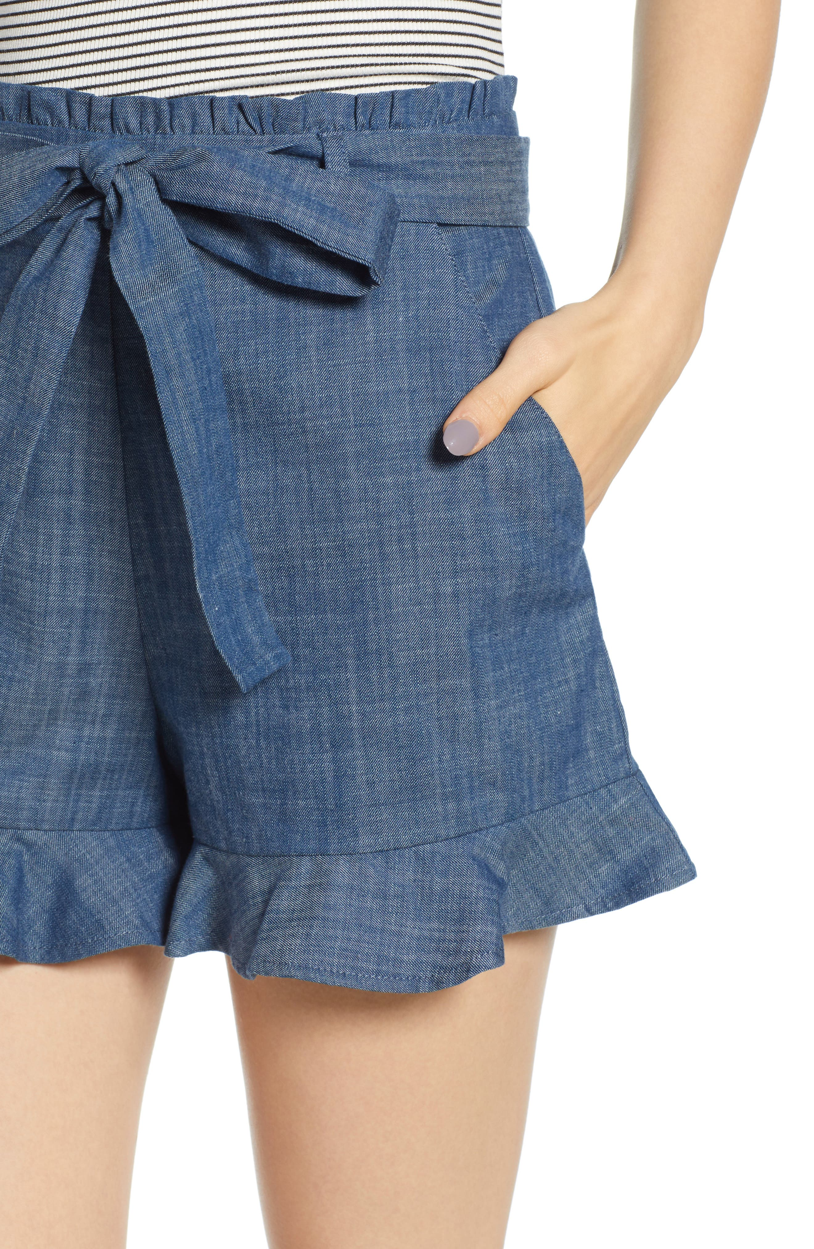 Tie Waist Chambray Shorts,                             Alternate thumbnail 4, color,                             450