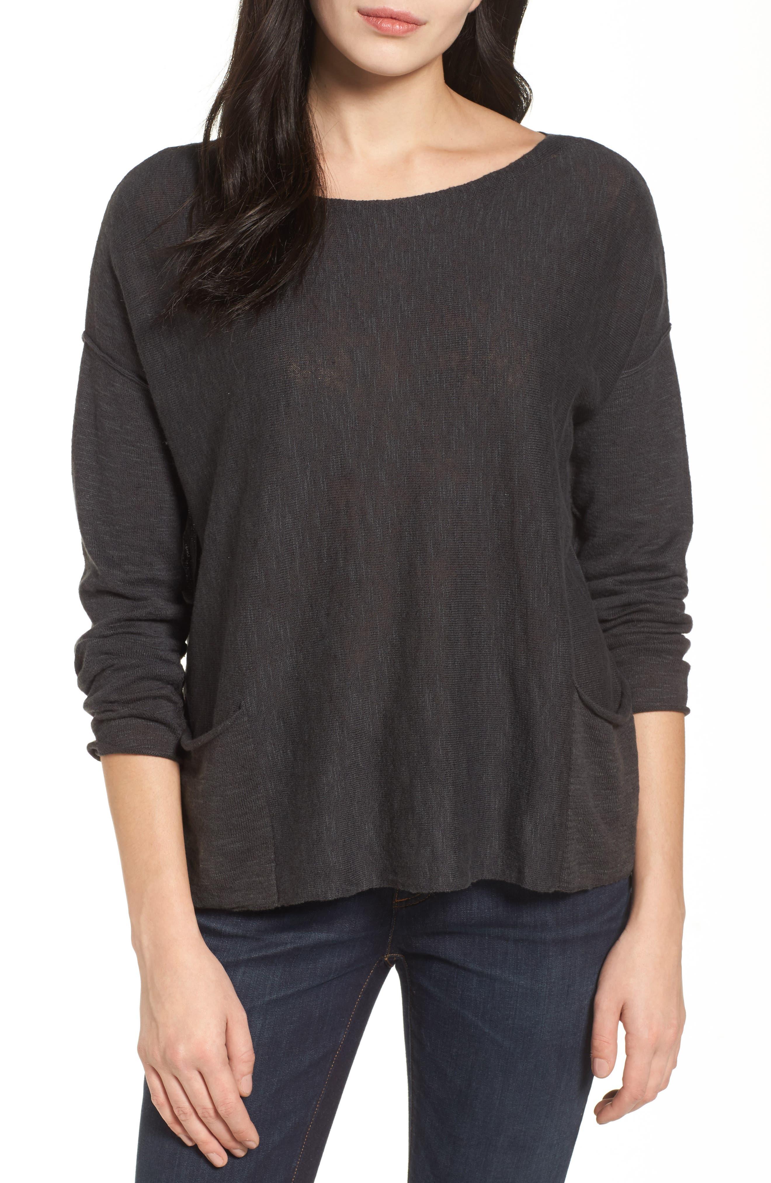 Organic Linen & Cotton Knit Boxy Top,                         Main,                         color, 021