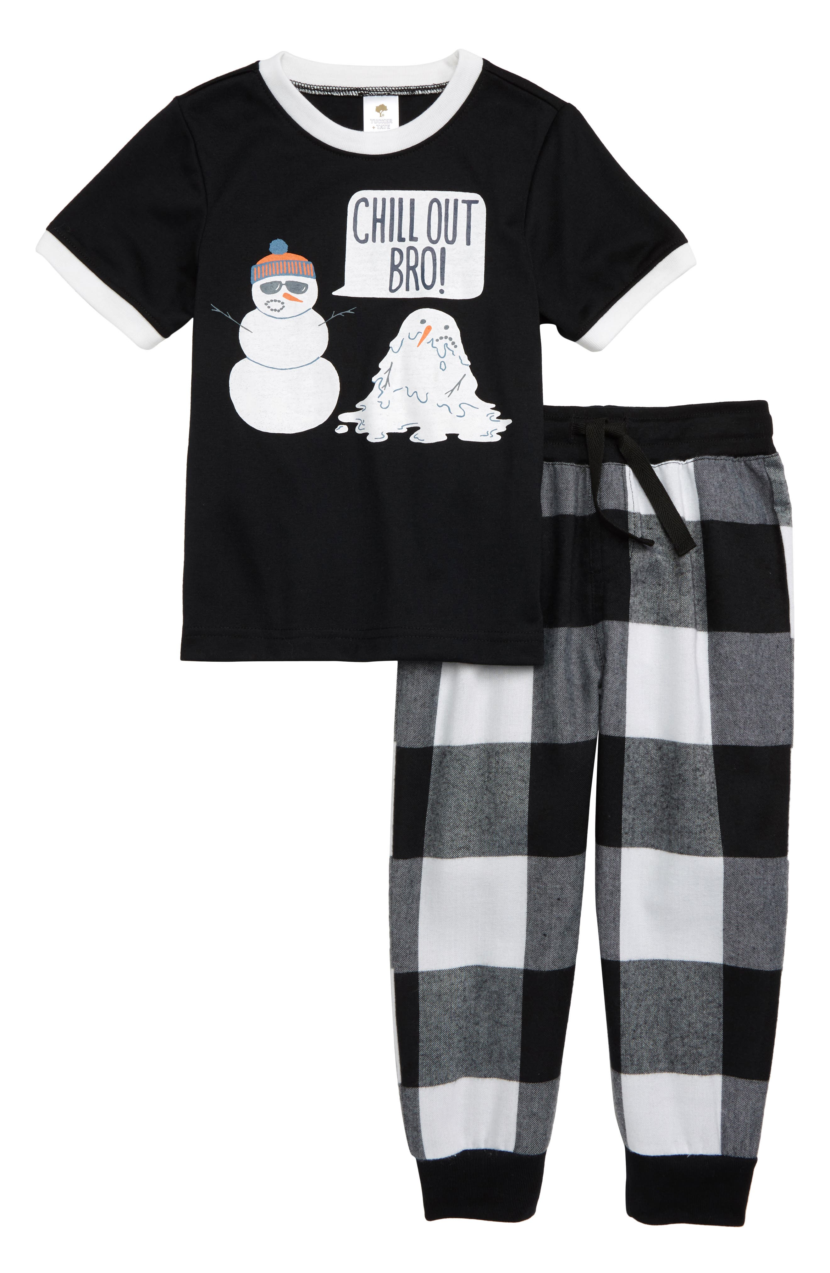 Graphic Two-Piece Pajamas Set,                             Main thumbnail 1, color,                             BLACK CHILL OUT