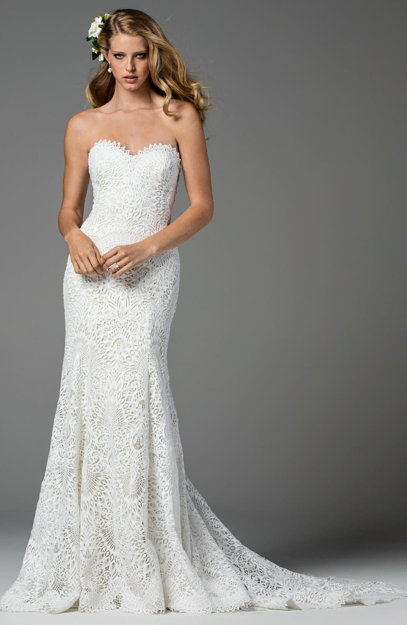 Taylor Strapless Lace Mermaid Gown,                             Alternate thumbnail 3, color,                             101