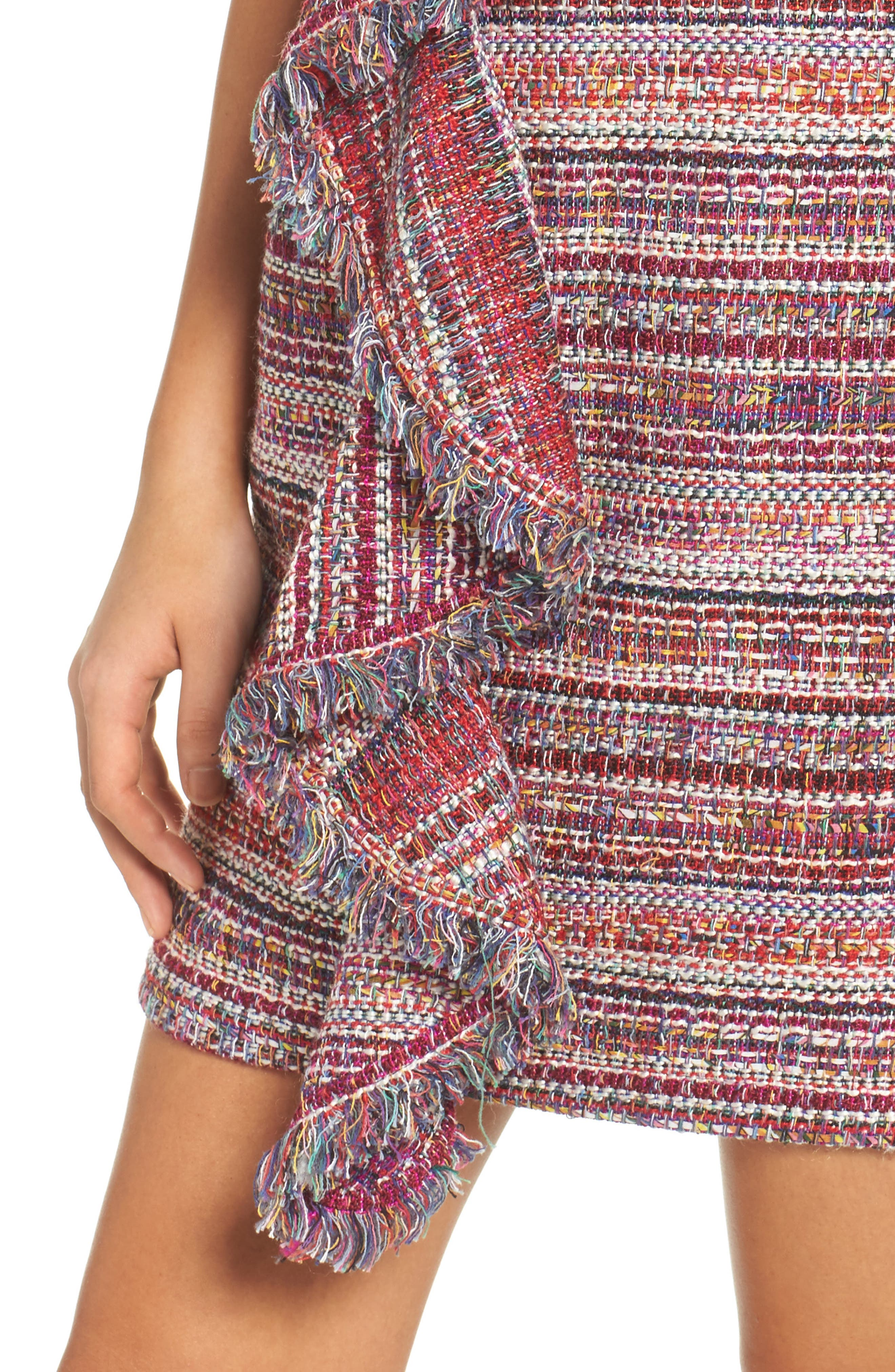 Jamie Ruffle Jacquard Sheath Dress,                             Alternate thumbnail 4, color,                             510