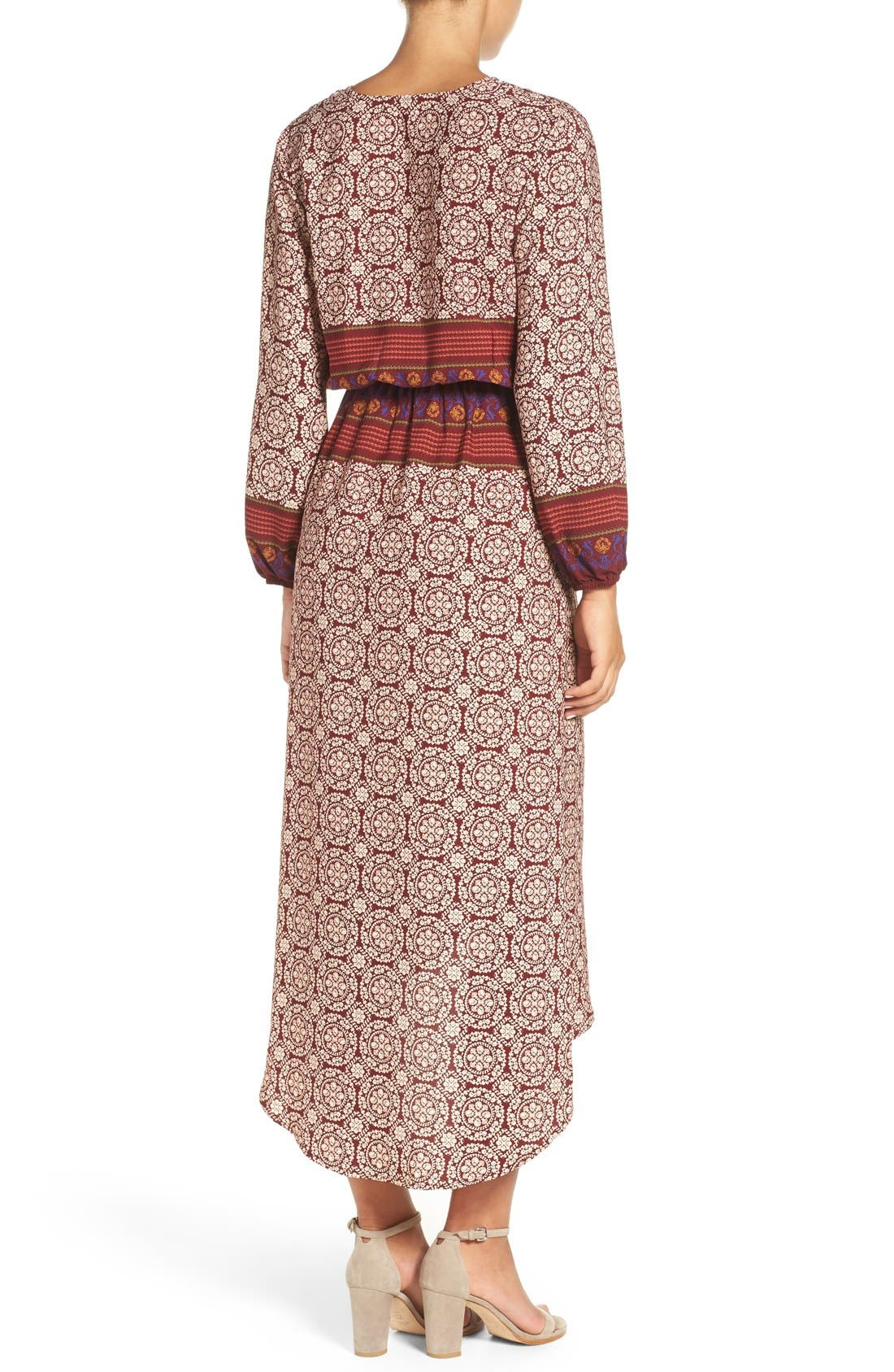 'Nora' Print High/Low Maxi Dress,                             Alternate thumbnail 3, color,                             939