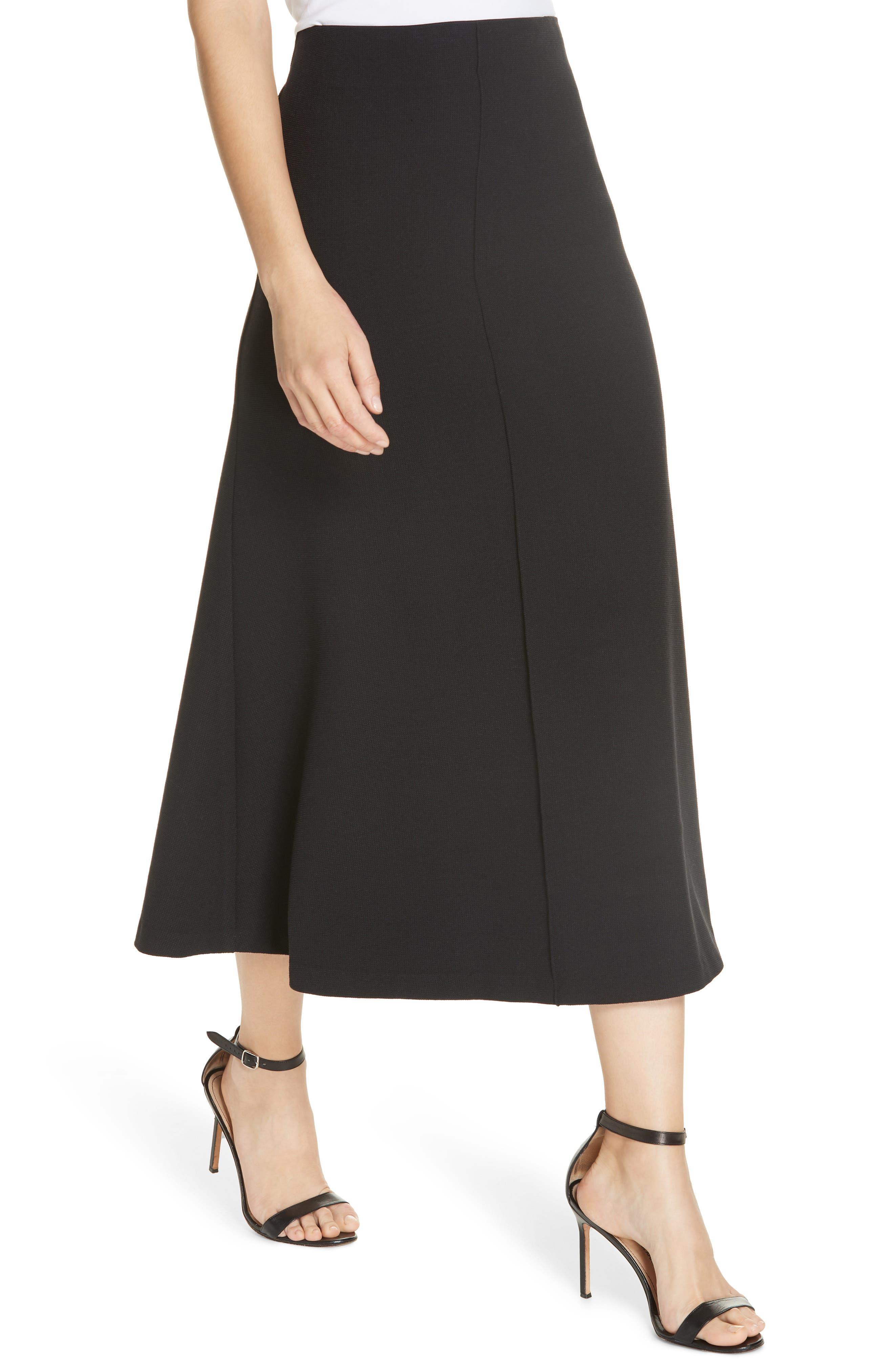 Fit & Flare Midi Skirt,                             Alternate thumbnail 4, color,                             BLACK PIQUE