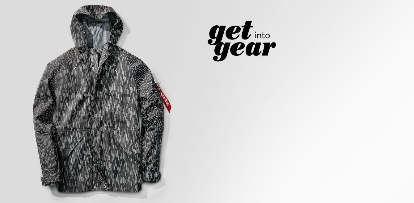 Get into gear, Alpha Industries military-grade raincoat for men.