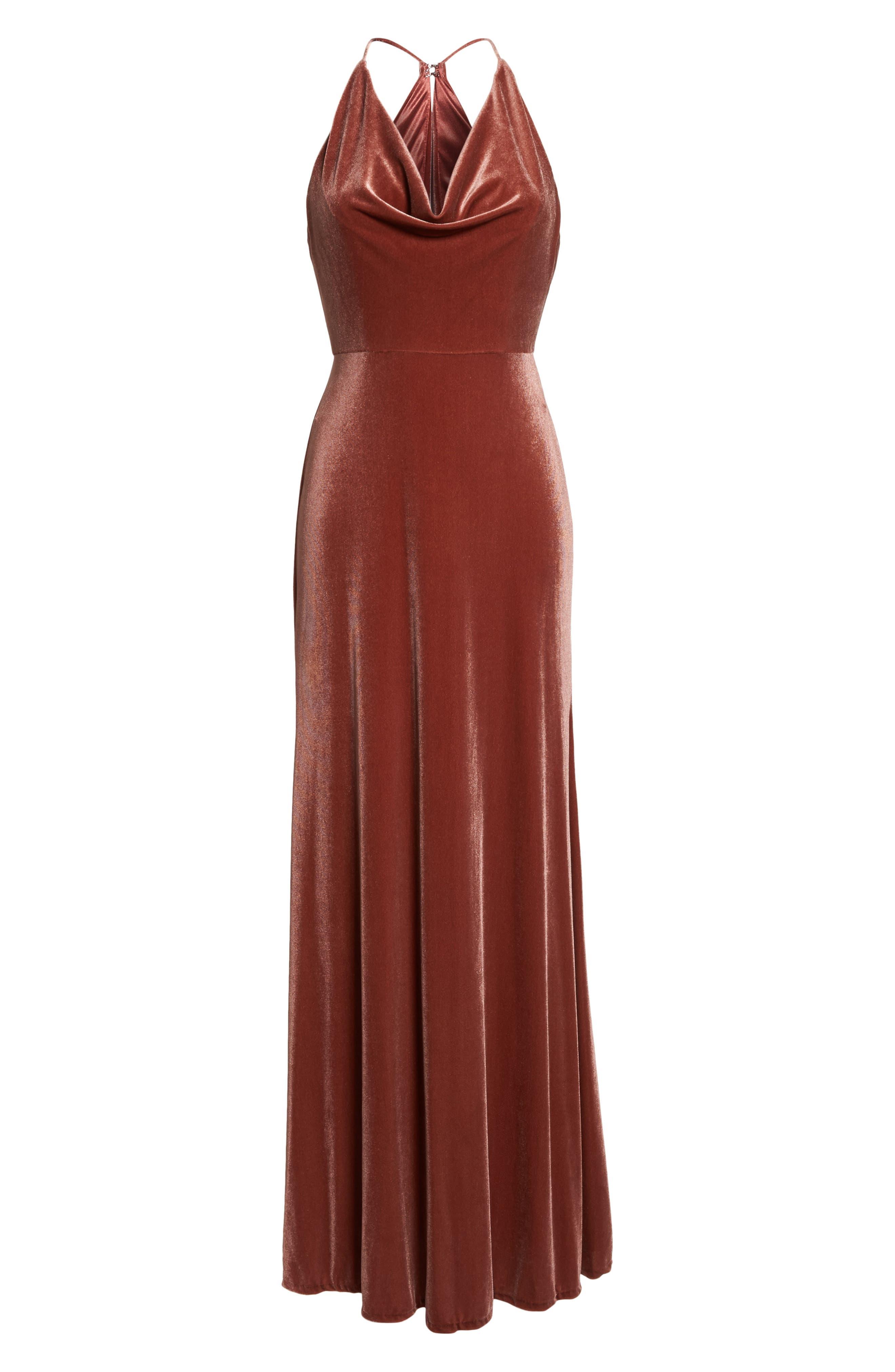 Sullivan Velvet Cowl Neck Gown,                             Alternate thumbnail 6, color,                             ENGLISH ROSE
