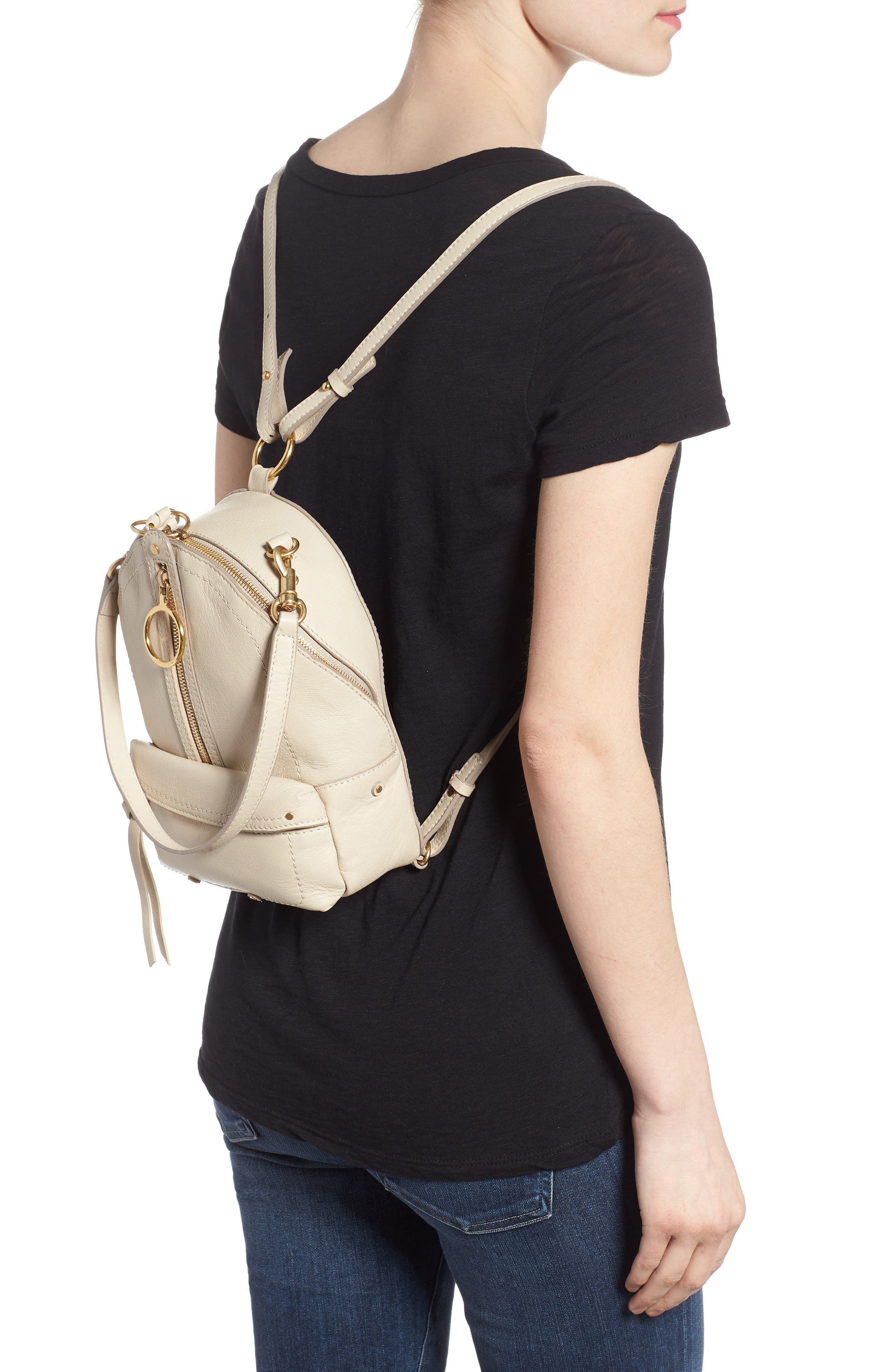 Mini Mino Leather Backpack,                             Alternate thumbnail 2, color,                             CEMENT BEIGE
