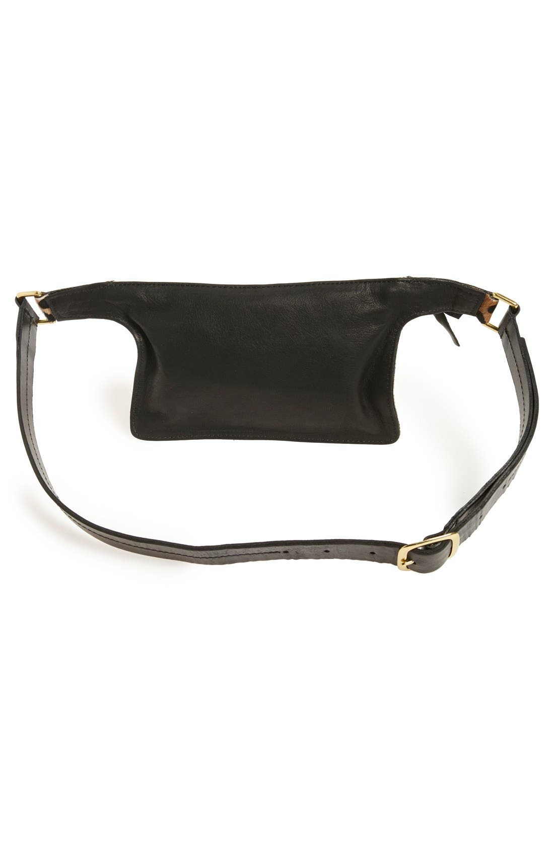 CLARE V.,                             Genuine Calf Hair Fanny Pack,                             Alternate thumbnail 3, color,                             001
