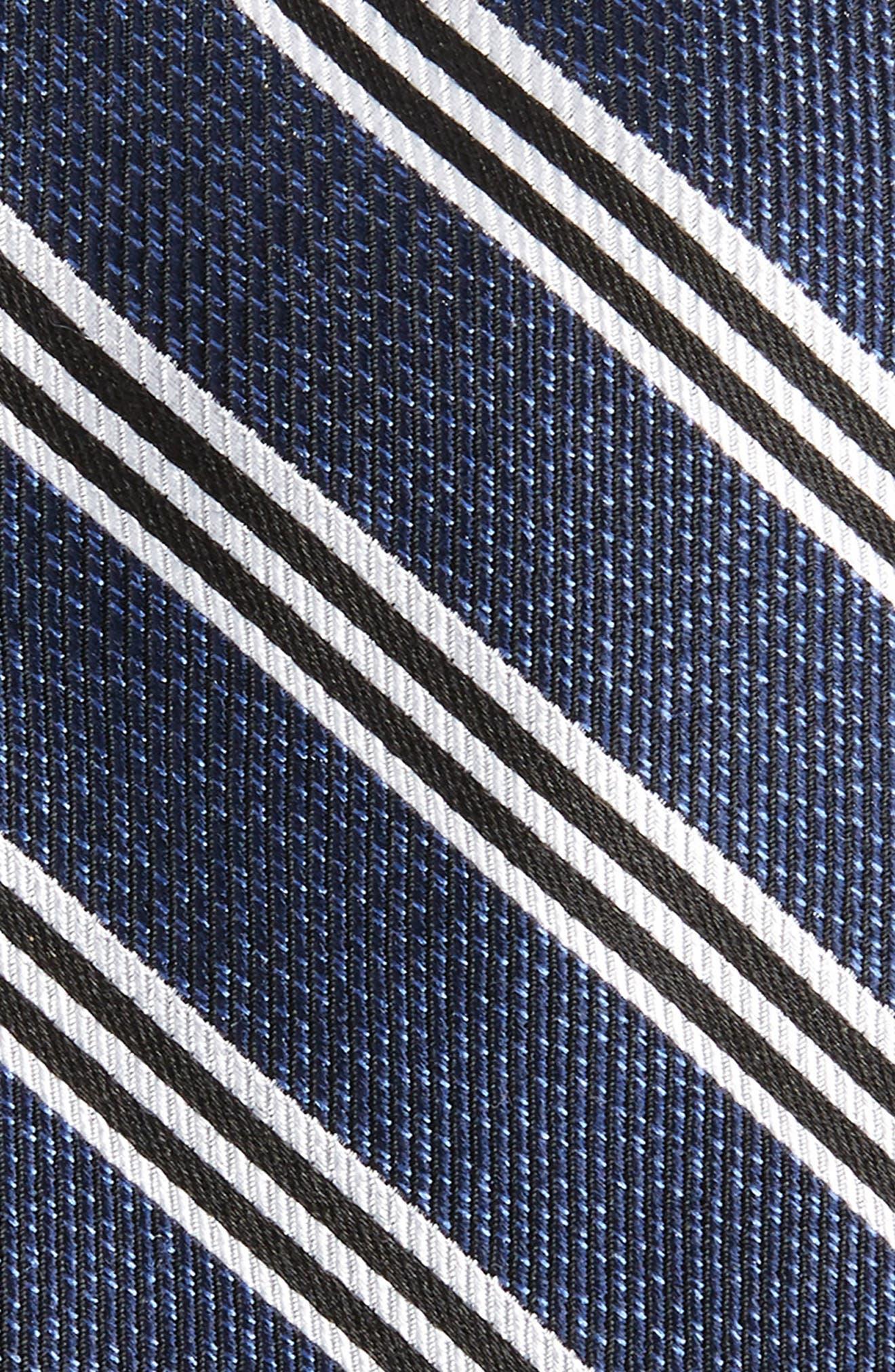 Stripe Silk Tie,                             Alternate thumbnail 2, color,                             BLACK