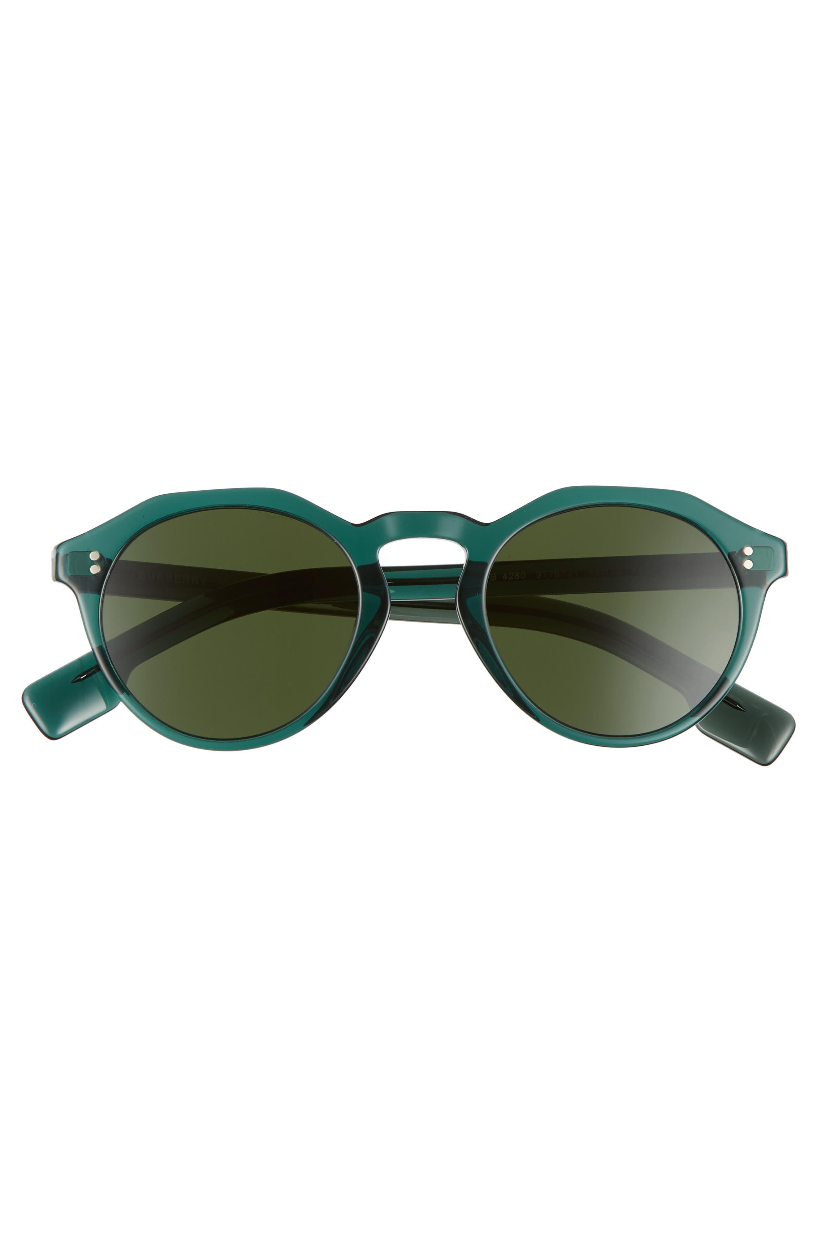 48mm Round Sunglasses,                             Alternate thumbnail 3, color,                             GREEN/ GREEN SOLID