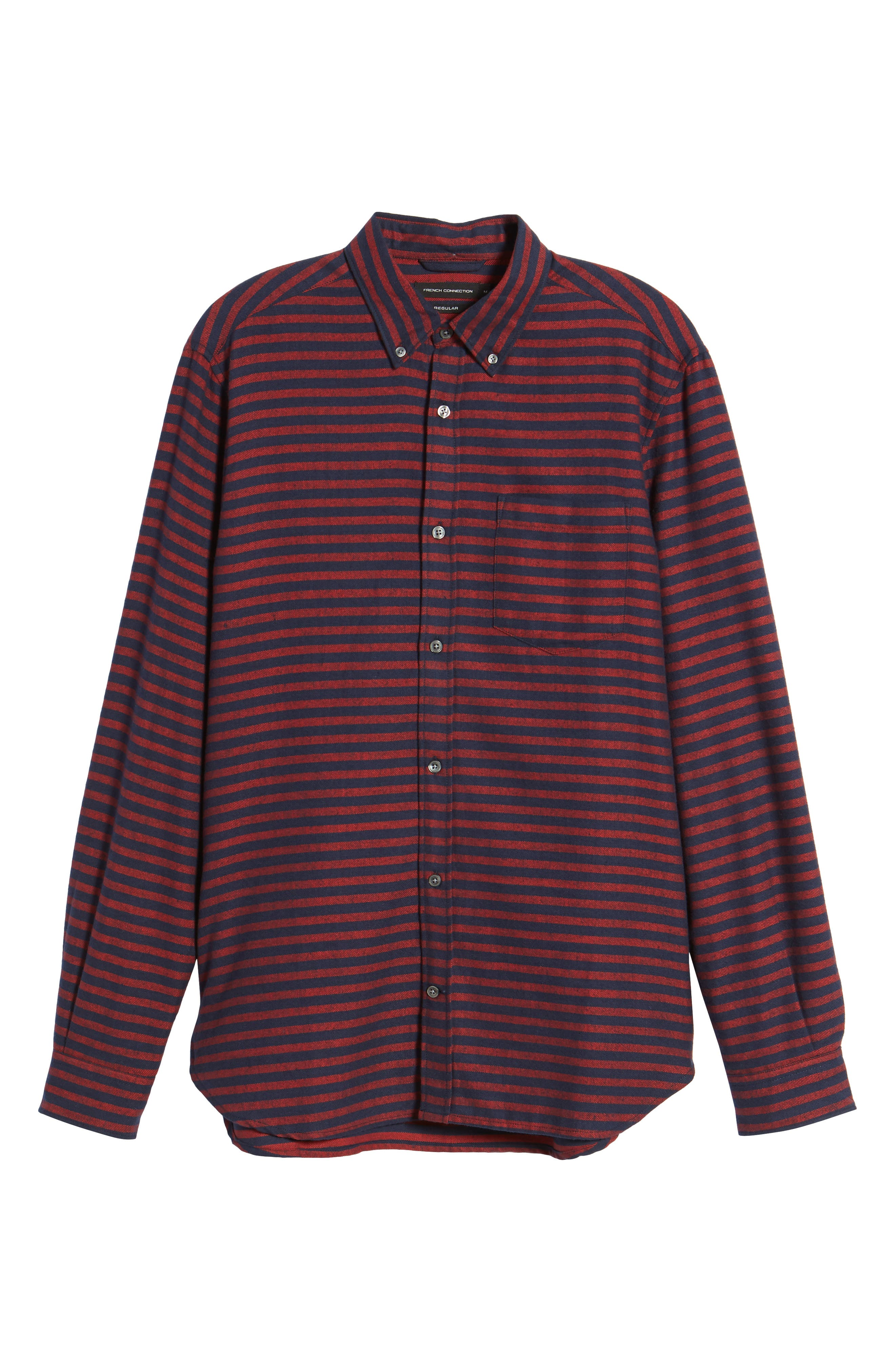 Regular Fit Stripe Flannel Shirt,                             Alternate thumbnail 6, color,                             930