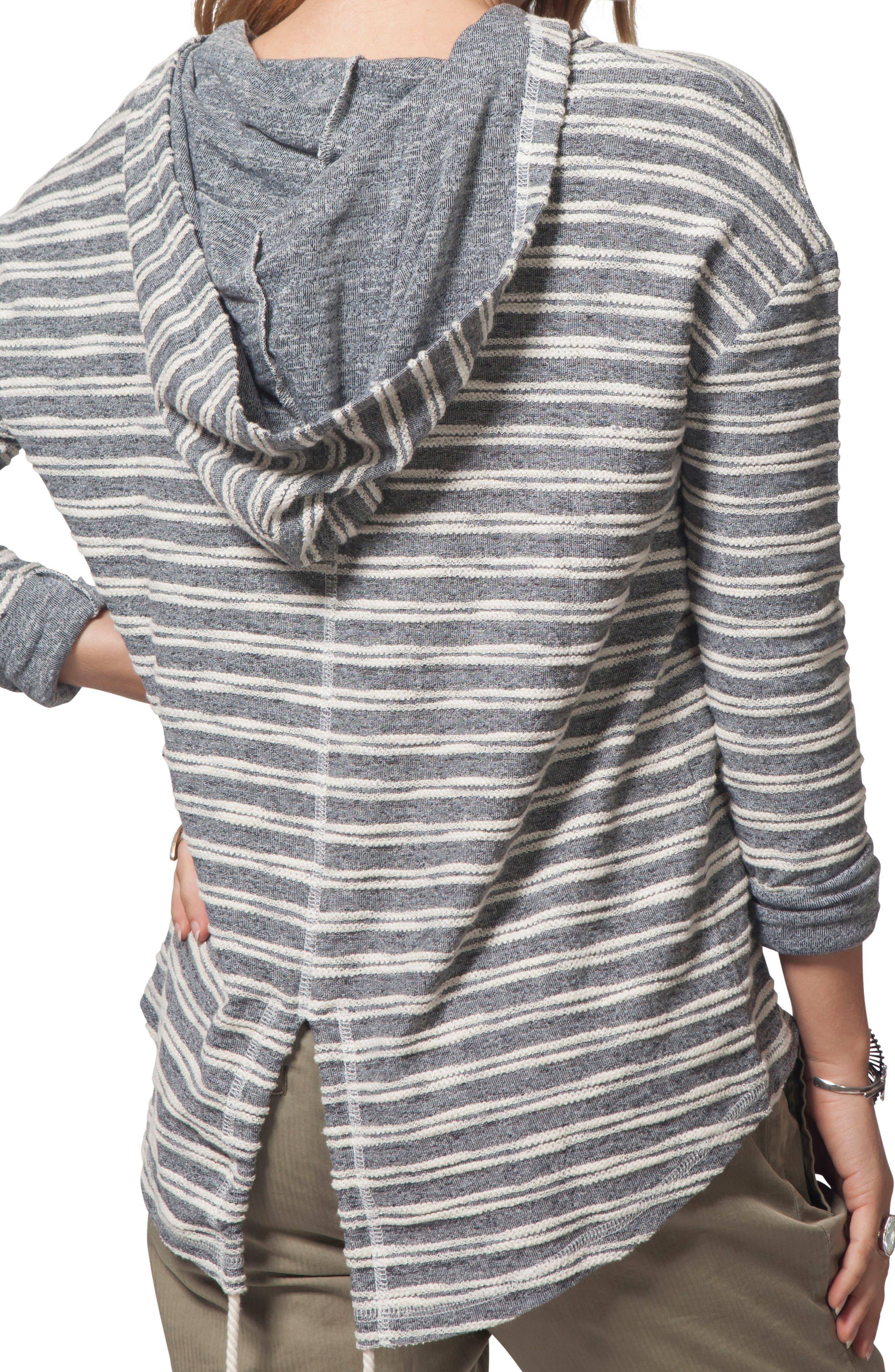 Next Move Stripe Hooded Pullover,                             Alternate thumbnail 3, color,                             BLACK