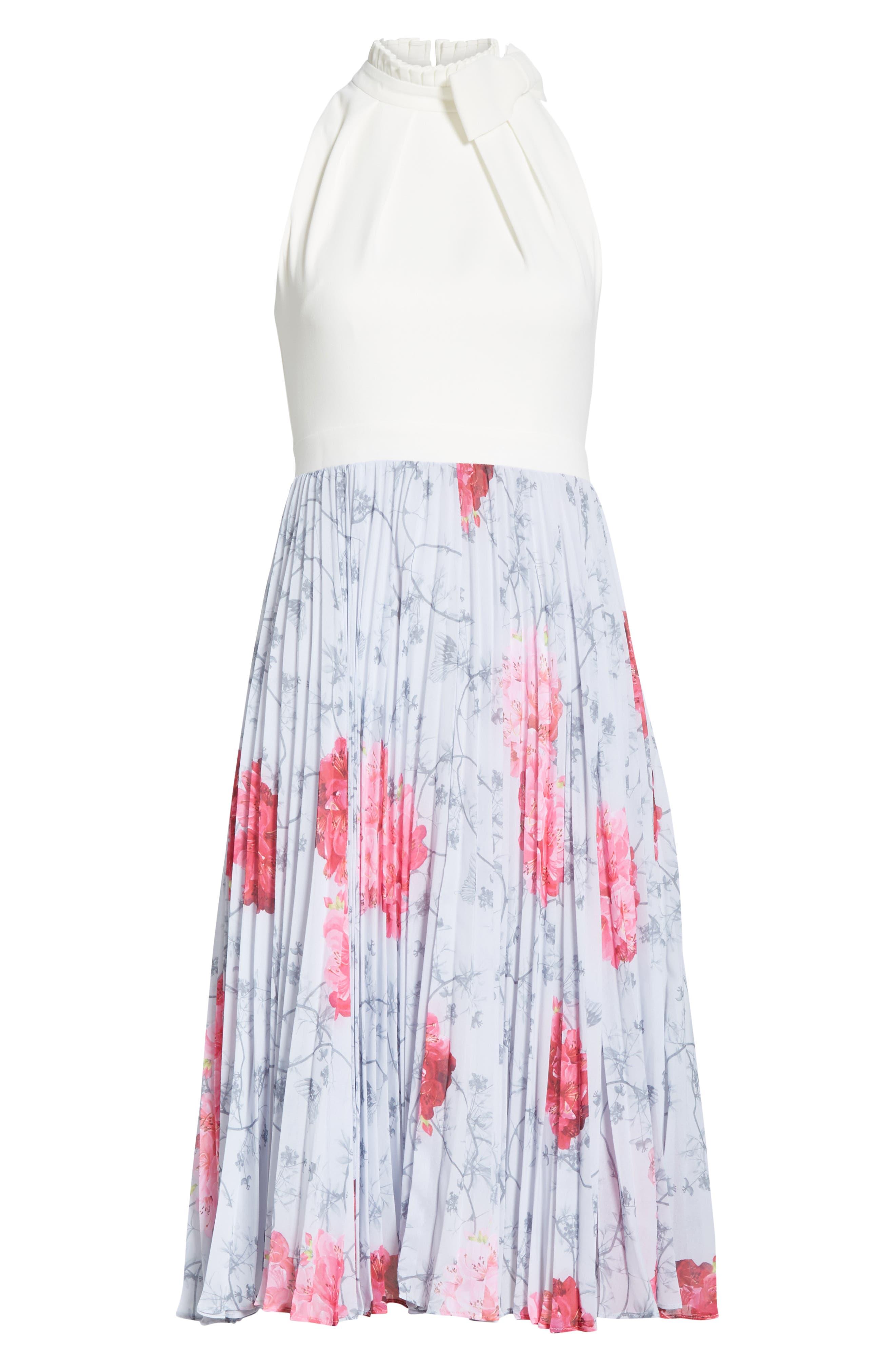 Babylon Pleat A-Line Dress,                             Alternate thumbnail 6, color,                             GREY