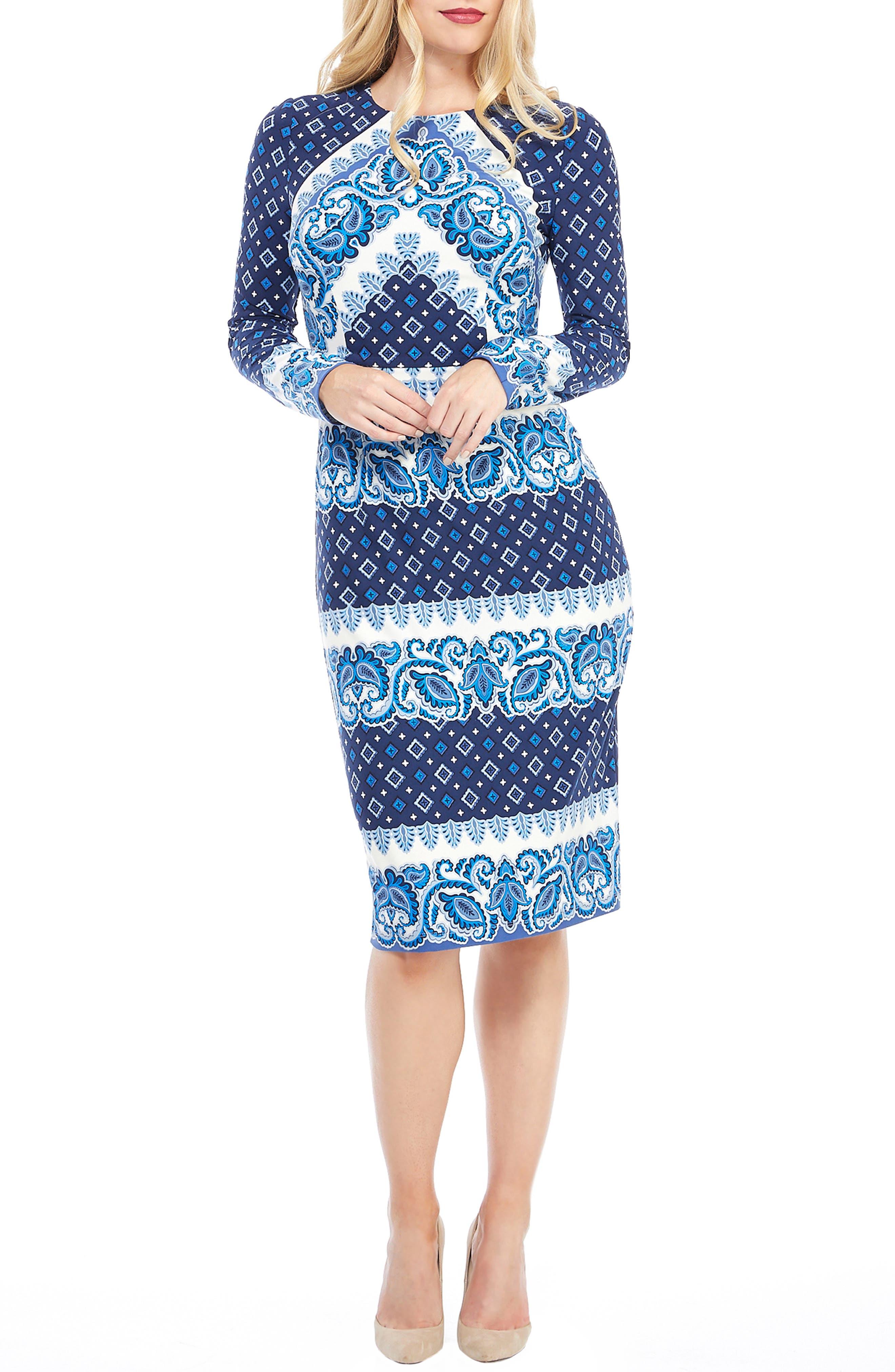 Petite Maggy London Placement Print Sheath Dress, Blue