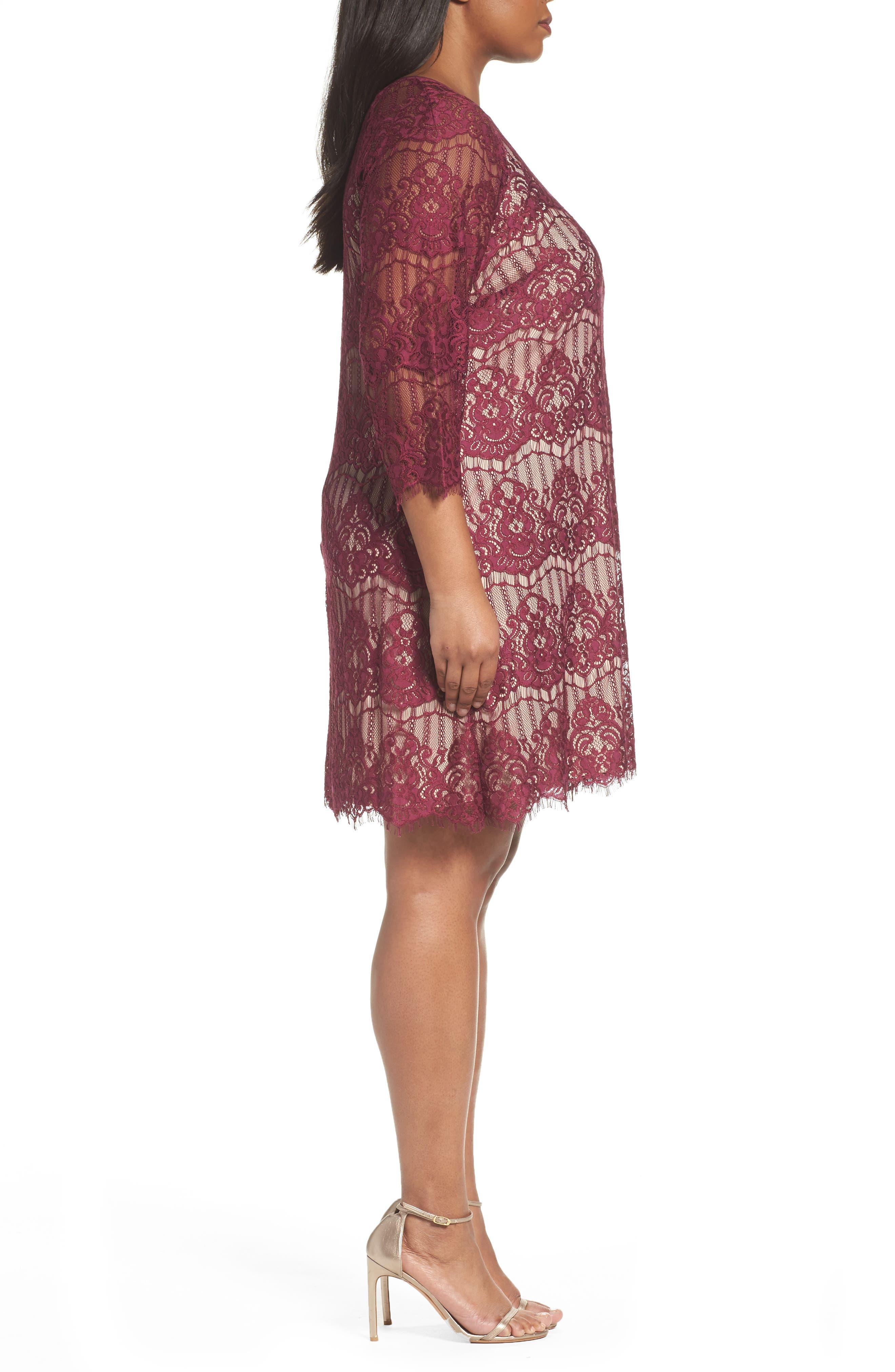 Scalloped Lace Trapeze Dress,                             Alternate thumbnail 3, color,