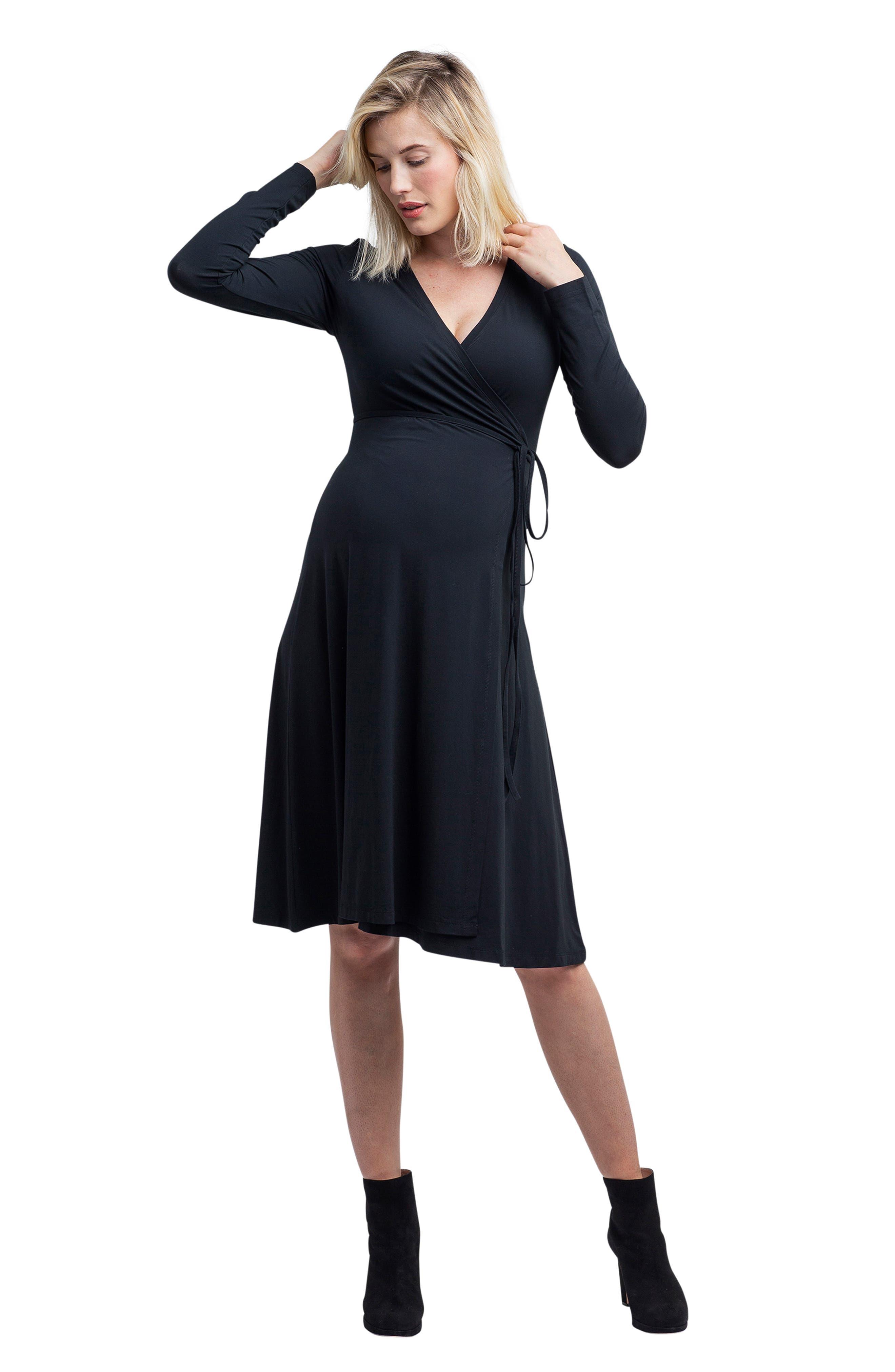 Tessa Jersey Maternity/Nursing Wrap Dress,                             Alternate thumbnail 6, color,                             BLACK