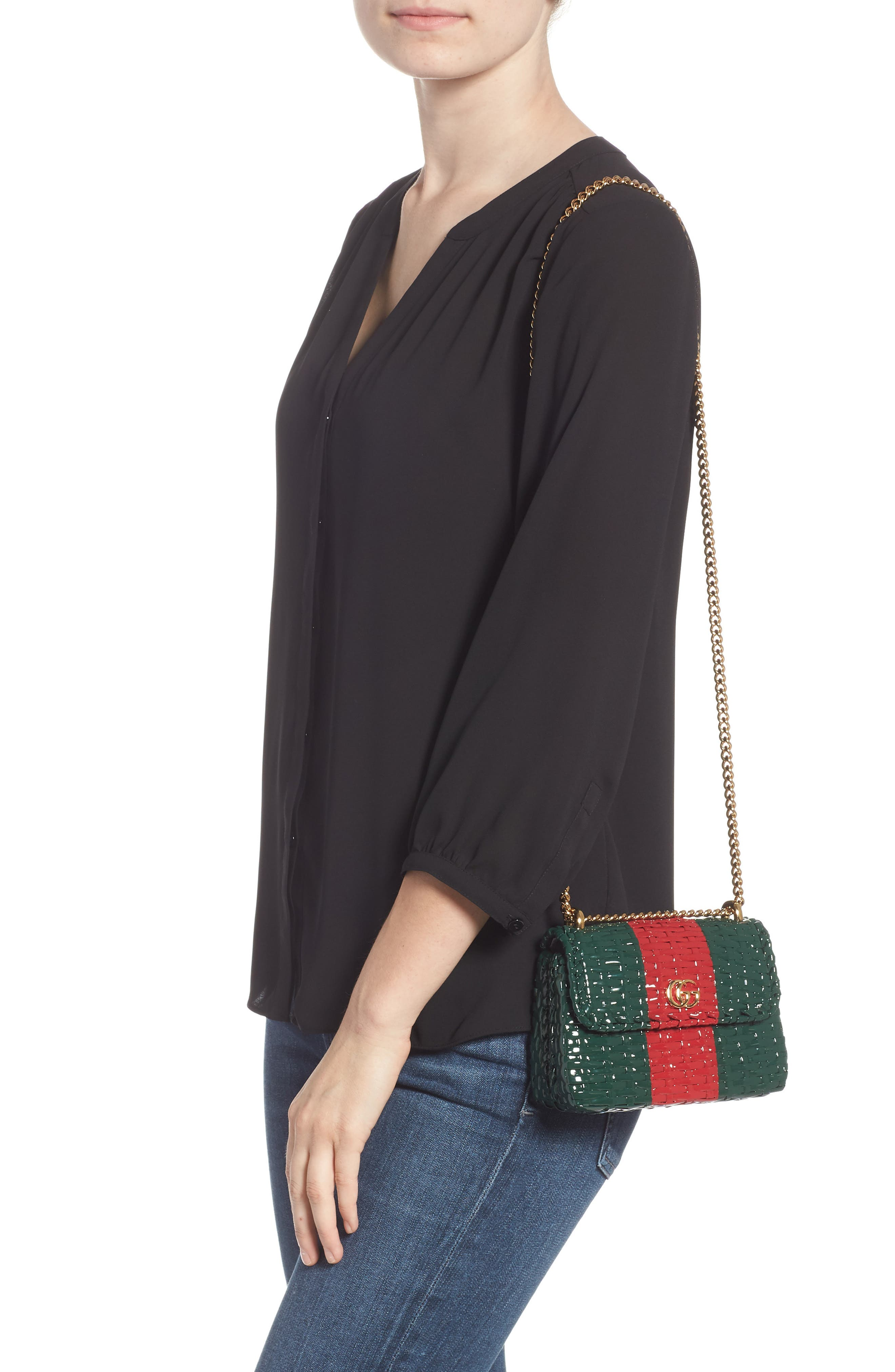 Small Linea Cestino Glazed Wicker Shoulder Bag,                             Alternate thumbnail 2, color,                             VERDE ROSSO VERDE