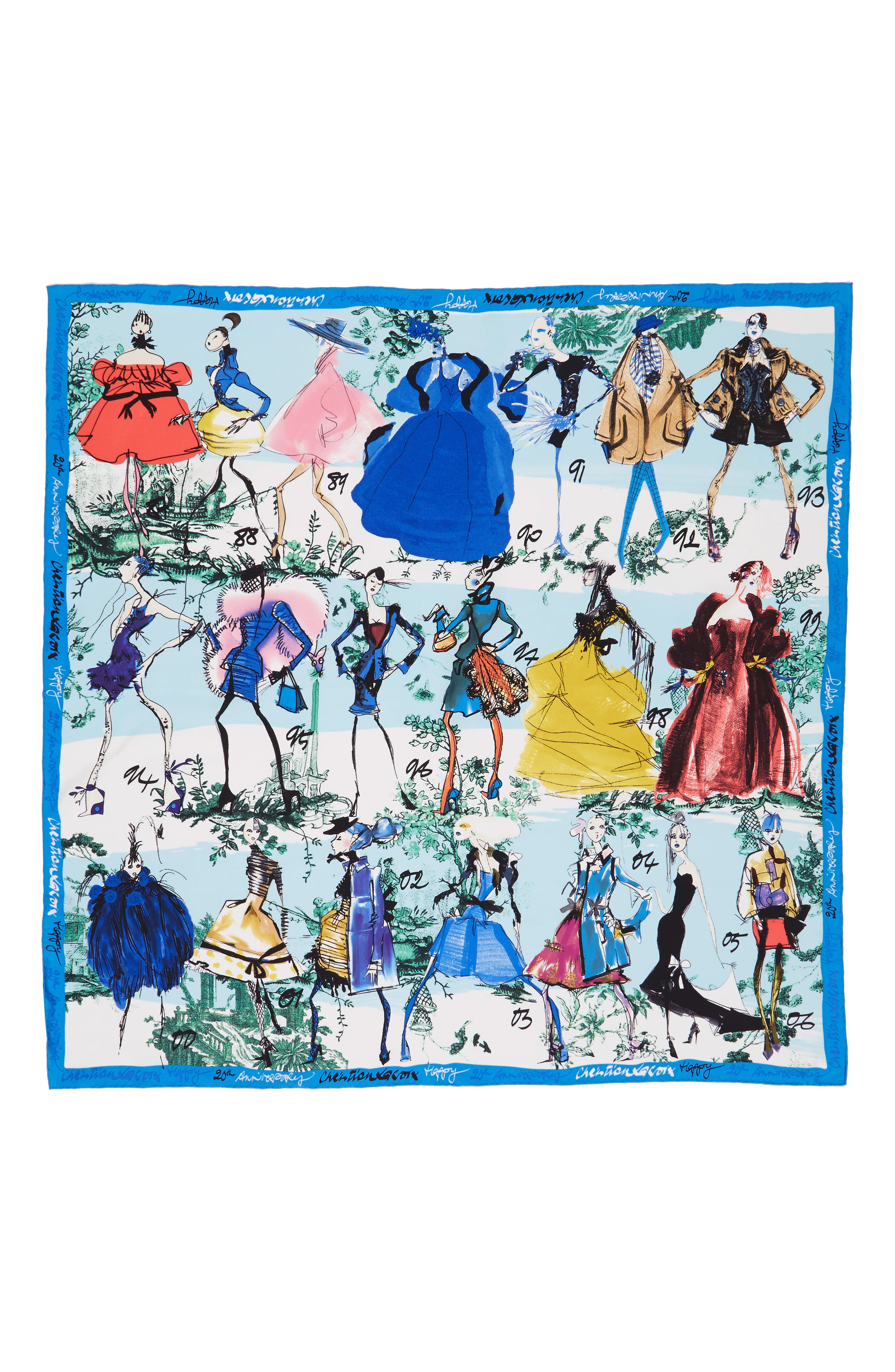 '20 Ans' Square Silk Scarf,                             Alternate thumbnail 12, color,