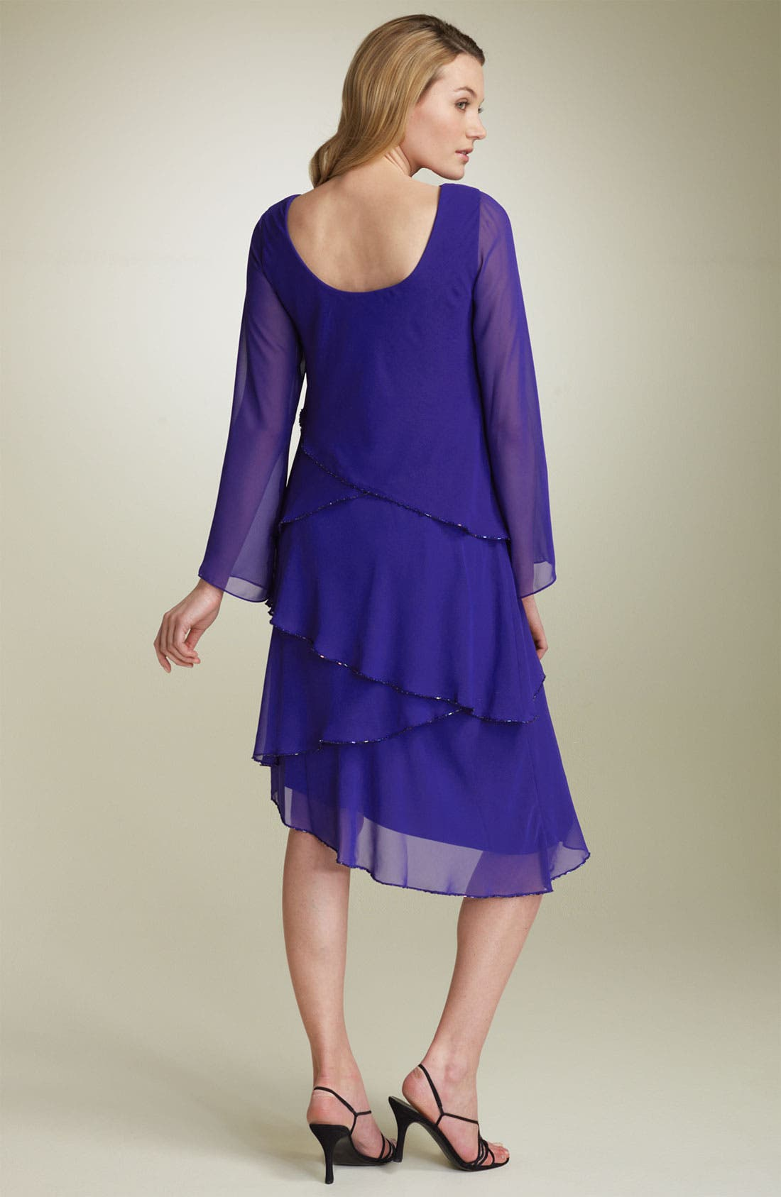 Tiered Chiffon Dress,                             Alternate thumbnail 2, color,                             428