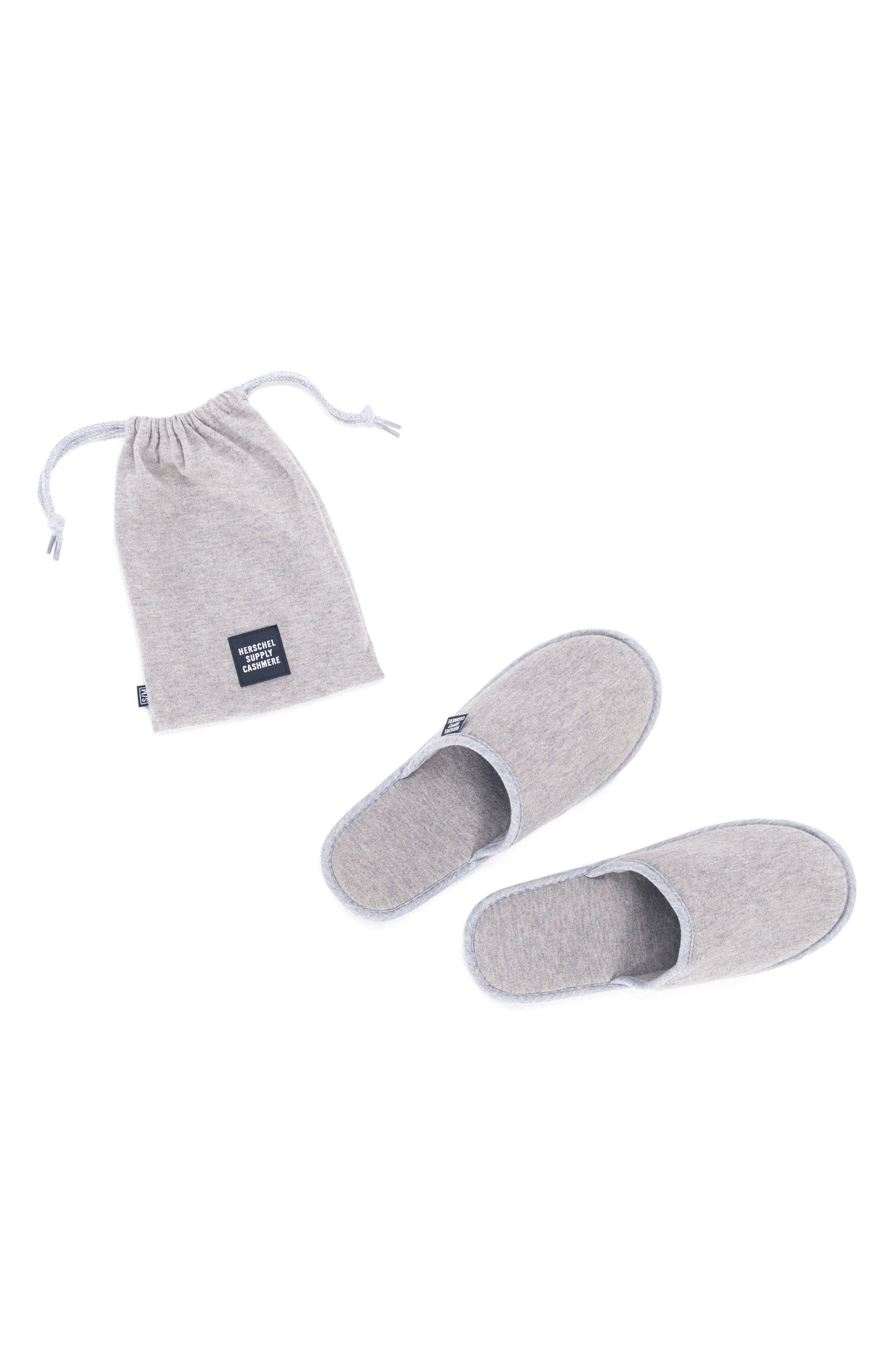 Cashmere Slippers,                             Main thumbnail 1, color,                             HEATHERED GREY