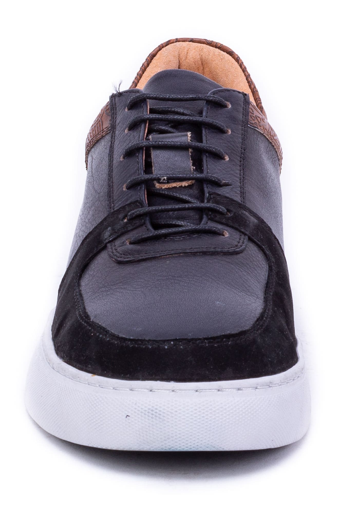 Chadwick Paisley Tooled Sneaker,                             Alternate thumbnail 4, color,                             BLACK LEATHER/ SUEDE