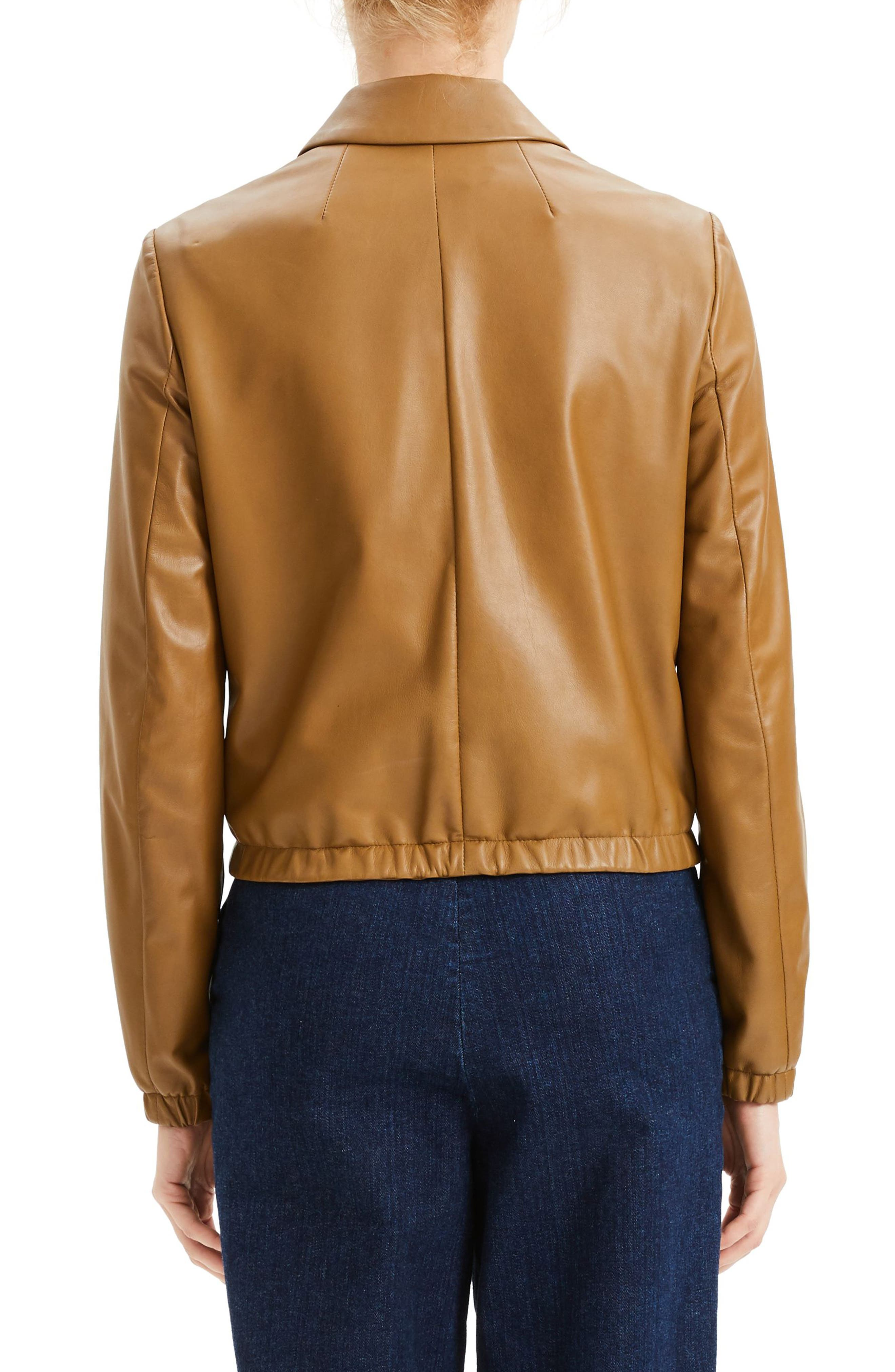 Leather Bomber Jacket,                             Alternate thumbnail 2, color,                             BROWN MOSS