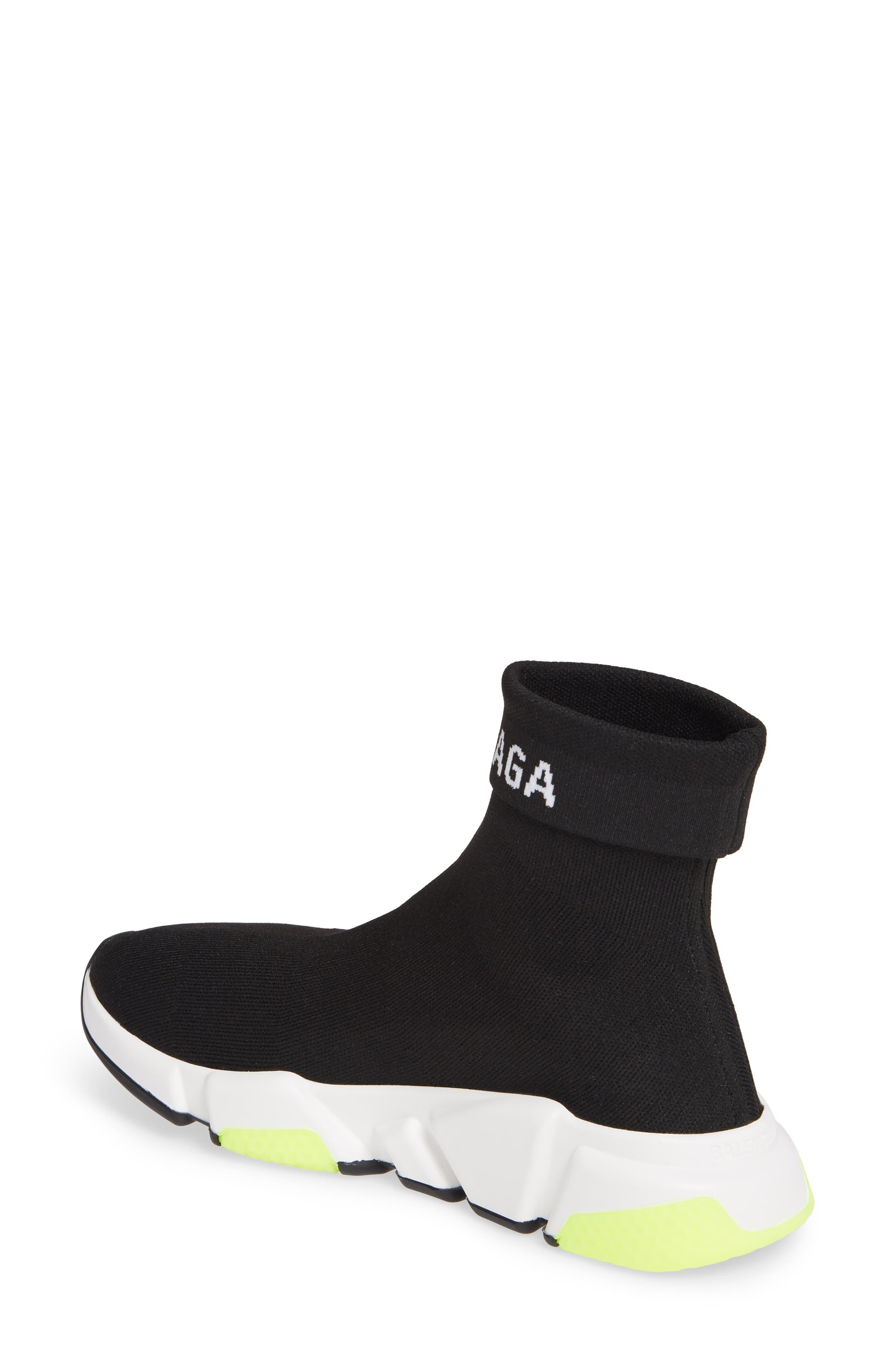 Hi Speed Logo Sock Sneaker,                             Alternate thumbnail 2, color,                             BLACK/ WHITE/ NEON