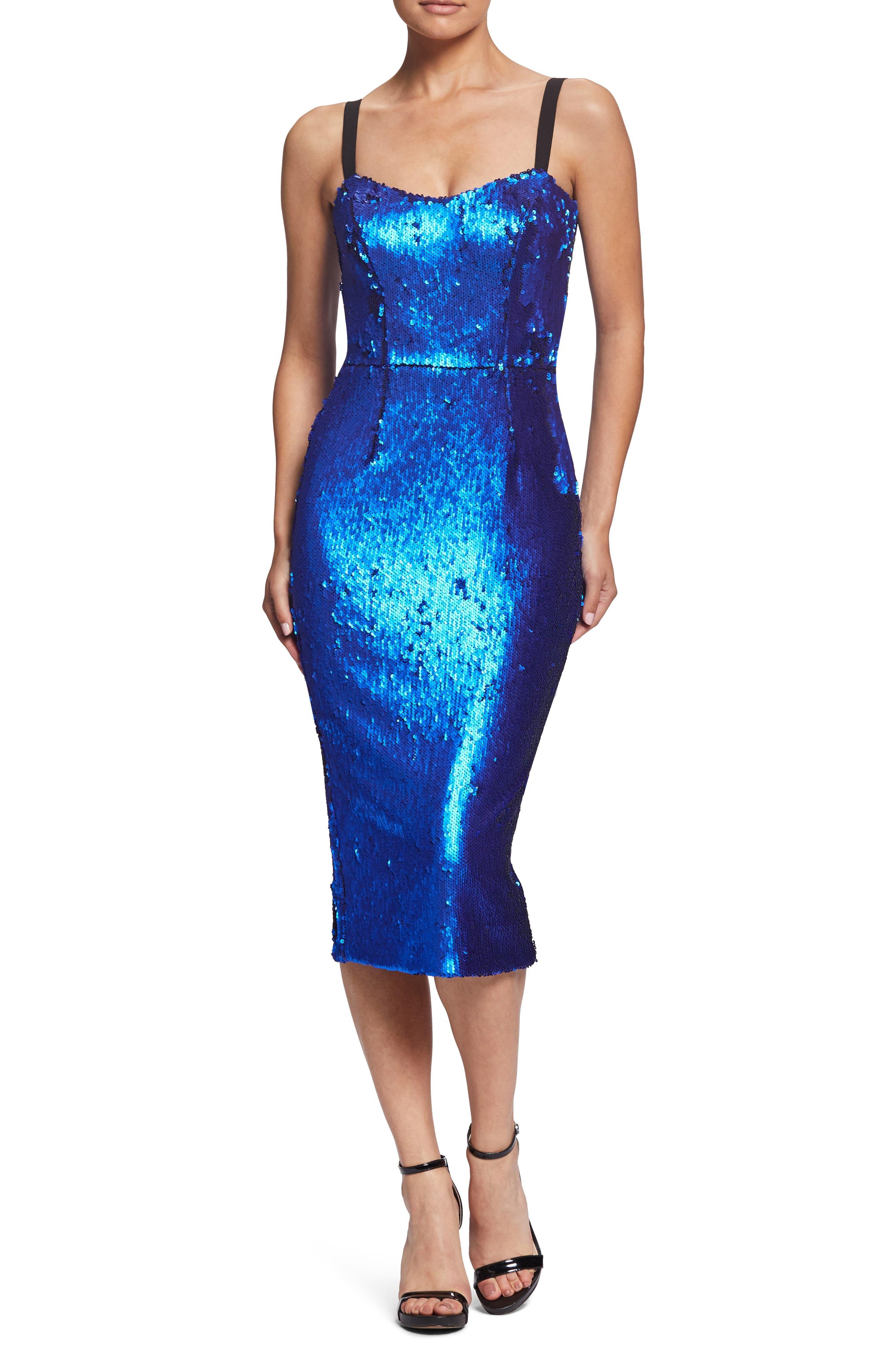 Dress The Population Lynda High Shine Sequin Cocktail Sheath Dress, Blue