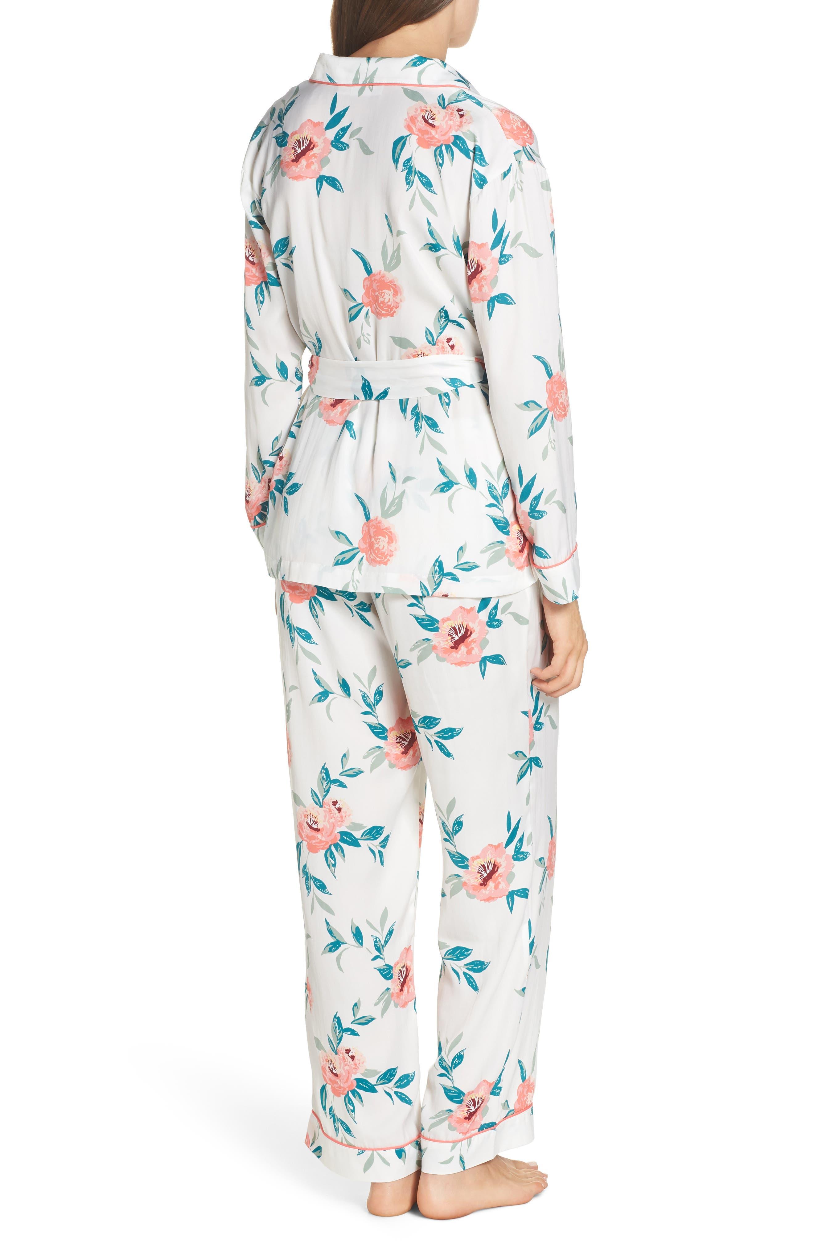 Sweet Dreams Wrap Pajamas,                             Alternate thumbnail 2, color,                             WHITE WINTER BLOOM