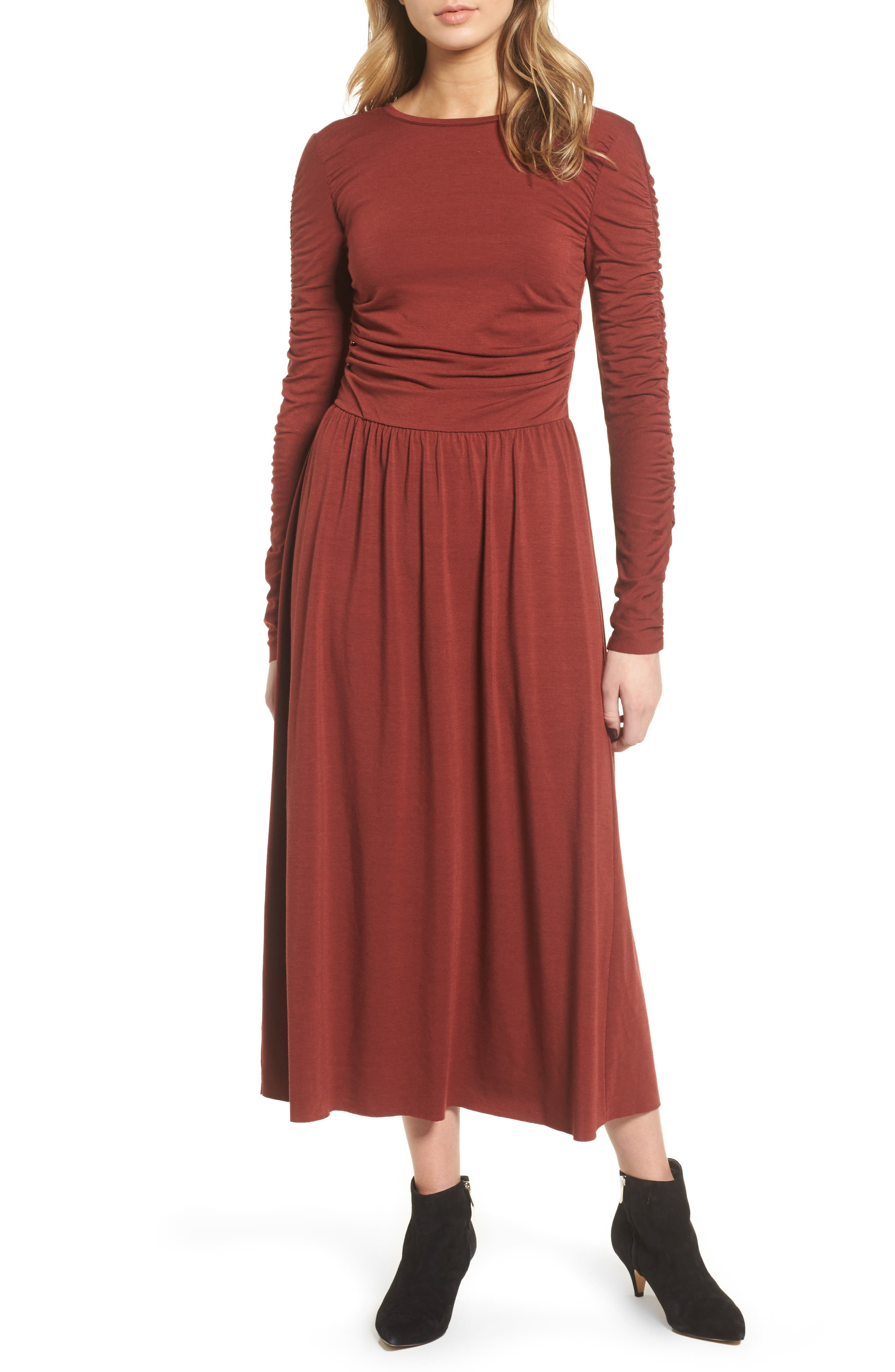 Ruched Jersey Knit Dress,                             Main thumbnail 1, color,                             200