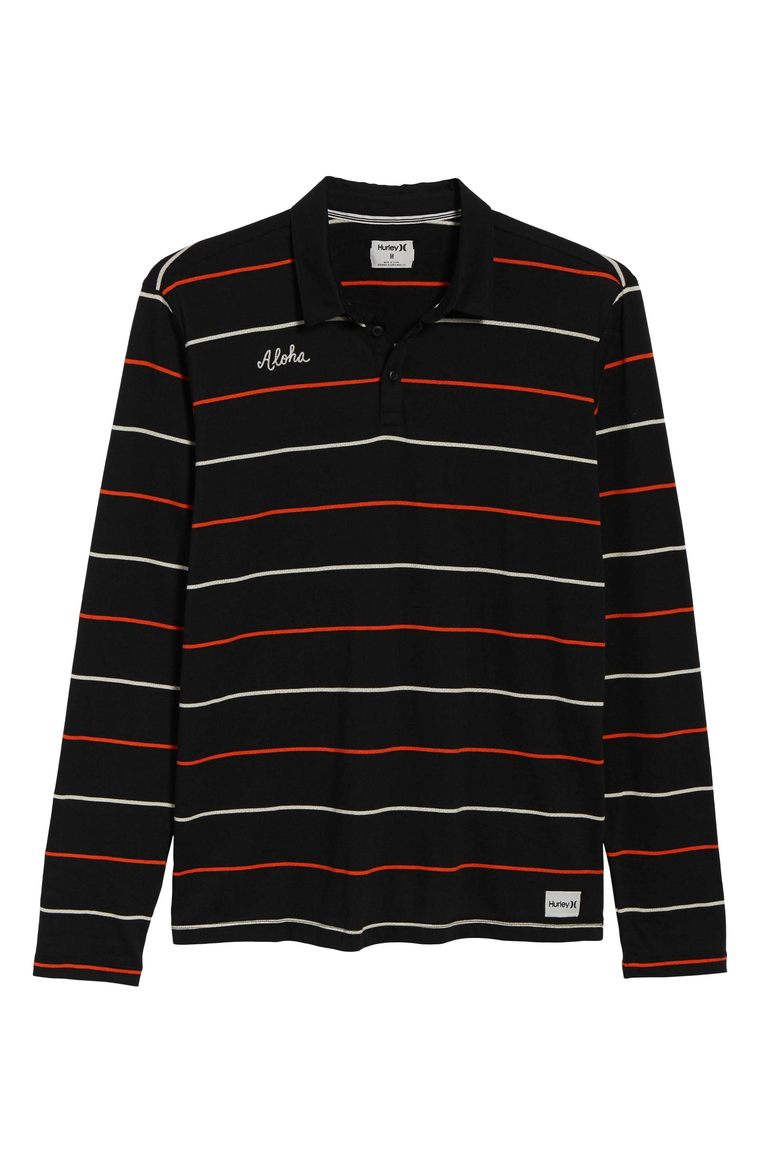 Channels Striped Long Sleeve Polo,                             Alternate thumbnail 6, color,                             BLACK