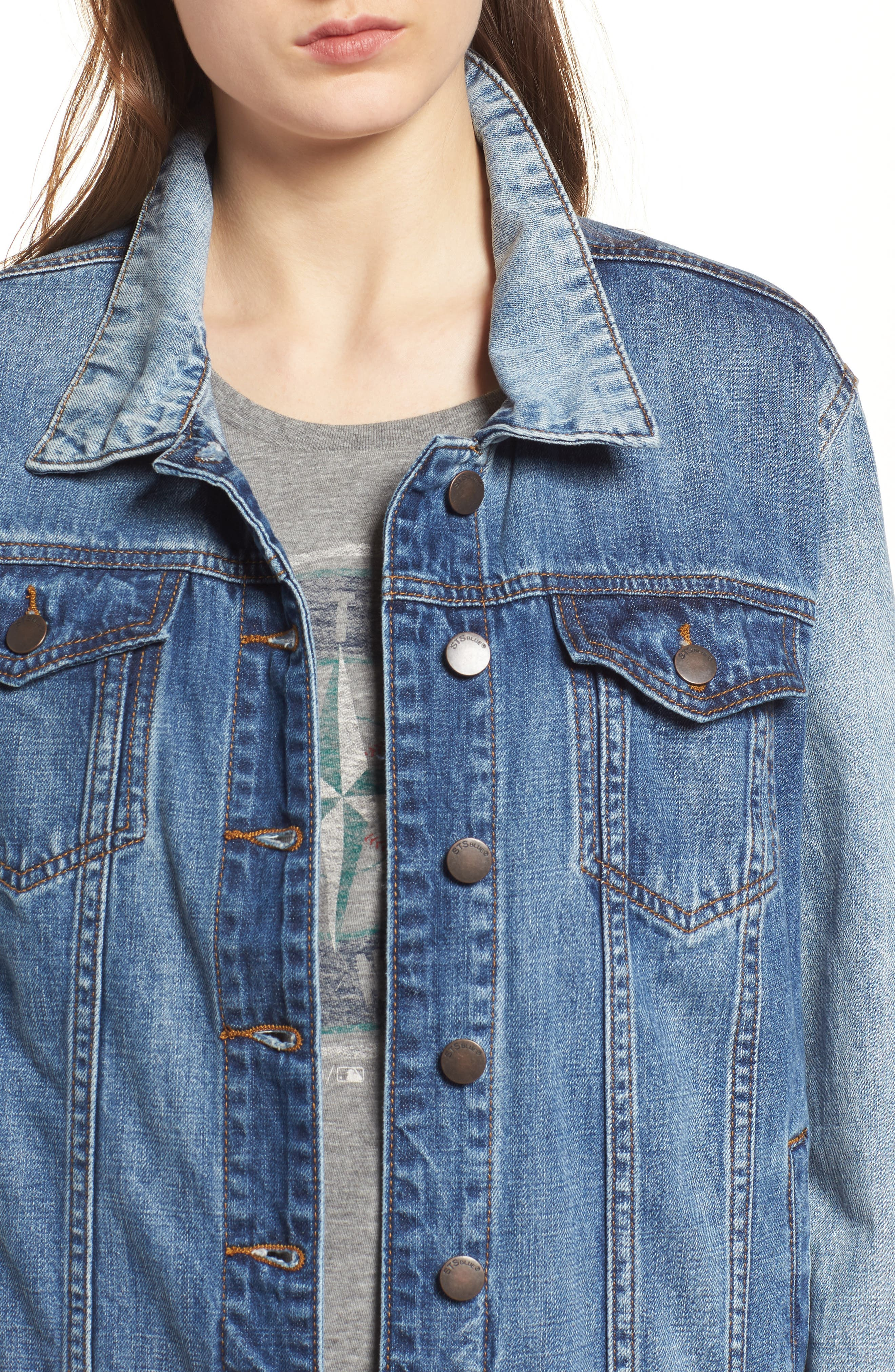Oversize Colorblock Denim Jacket,                             Alternate thumbnail 4, color,                             400