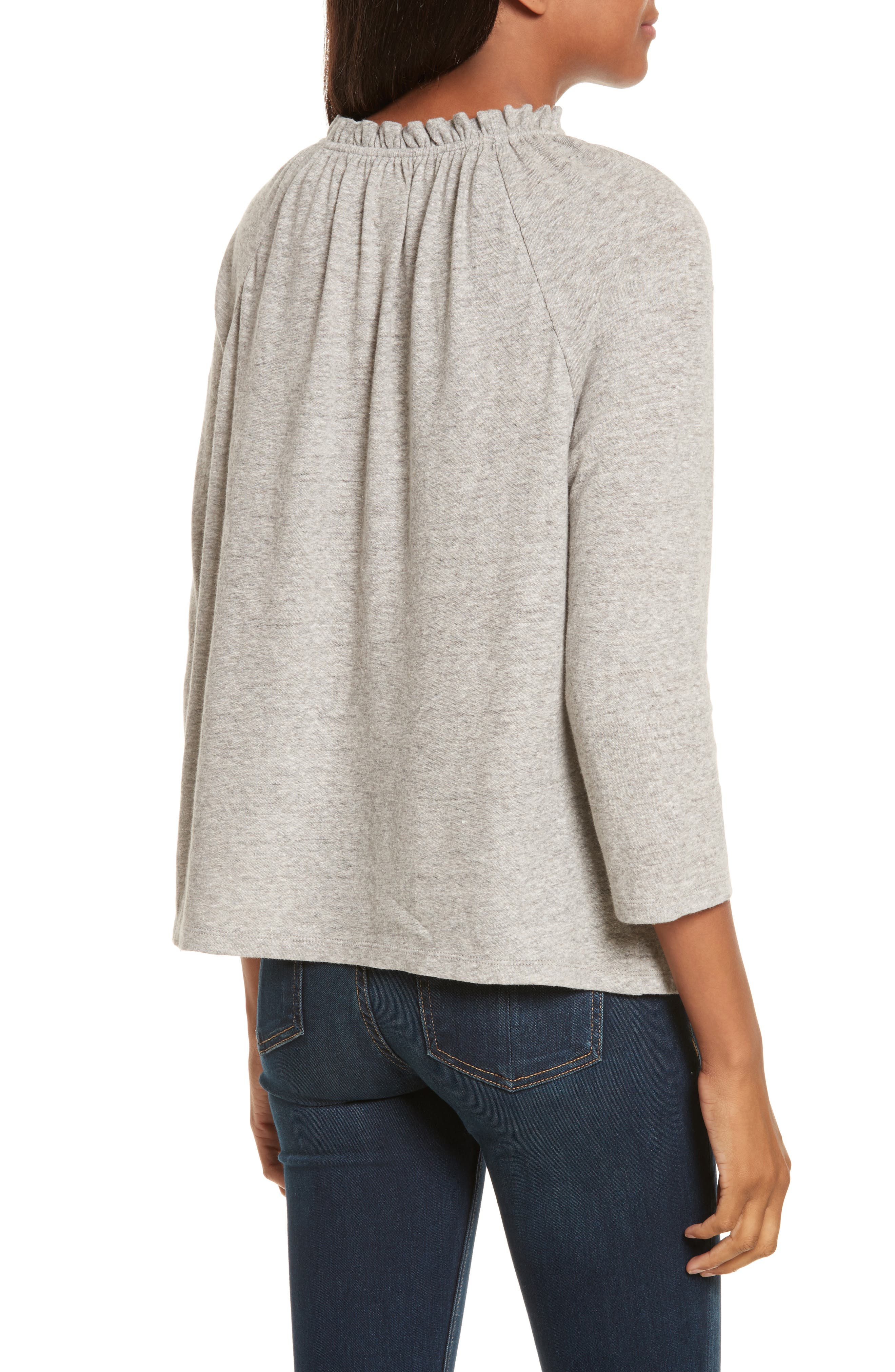 Ruffle Neck Top,                             Alternate thumbnail 2, color,                             038