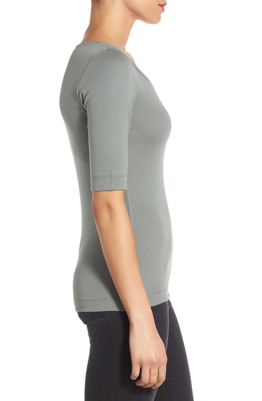 Ballet Neck Cotton & Modal Knit Elbow Sleeve Tee,                             Alternate thumbnail 180, color,