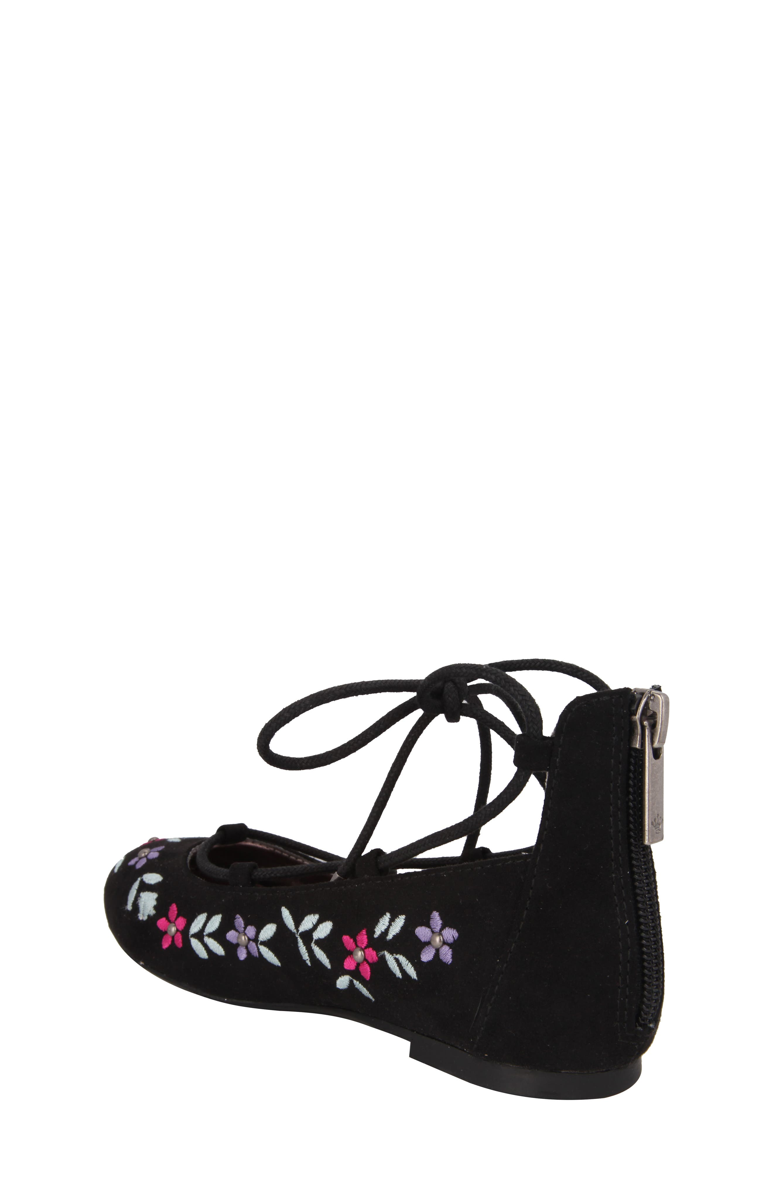 Nelly Embroidered Ghillie Flat,                             Alternate thumbnail 2, color,                             003