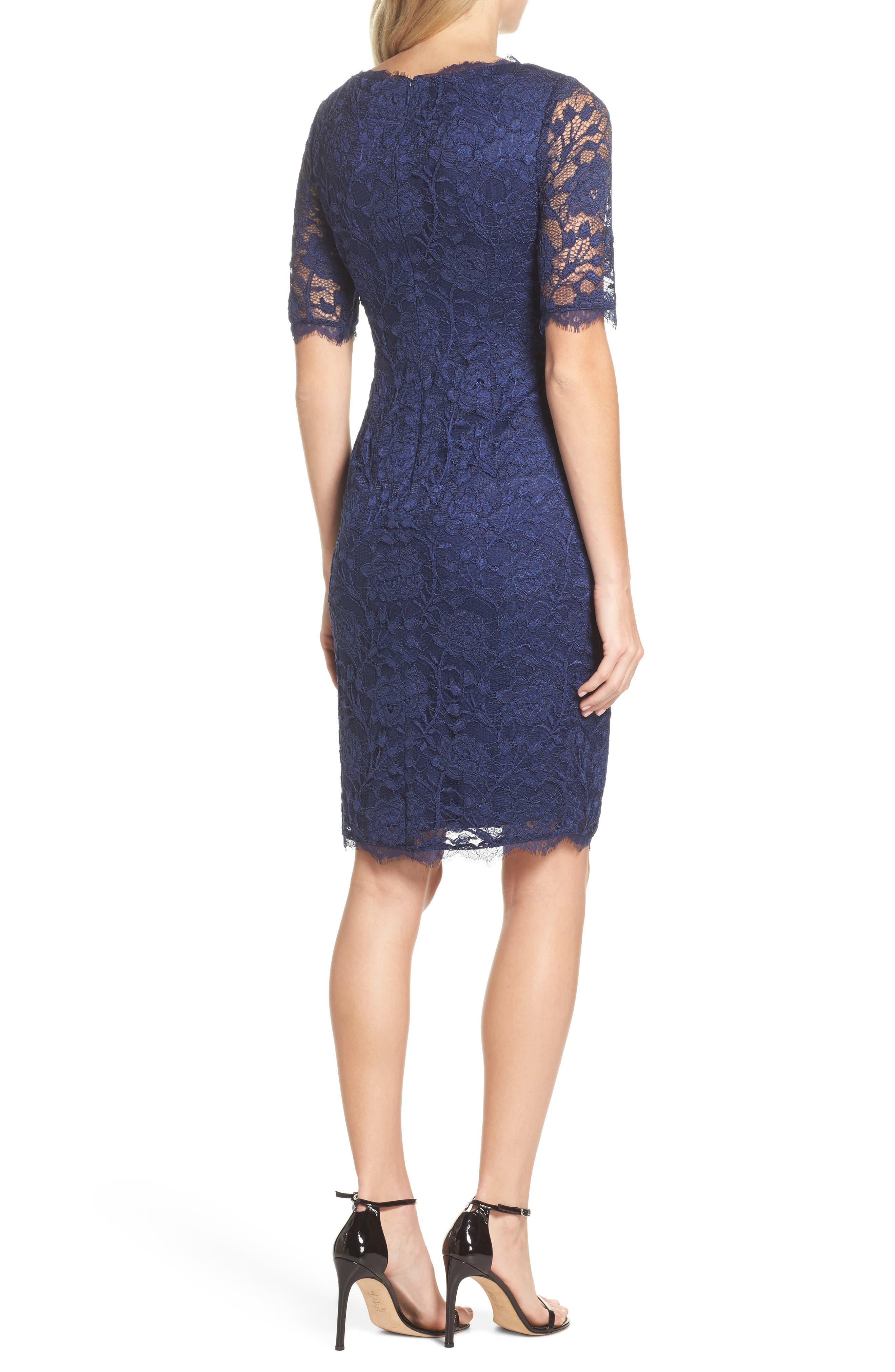 Rose Lace Sheath Dress,                             Alternate thumbnail 2, color,                             412