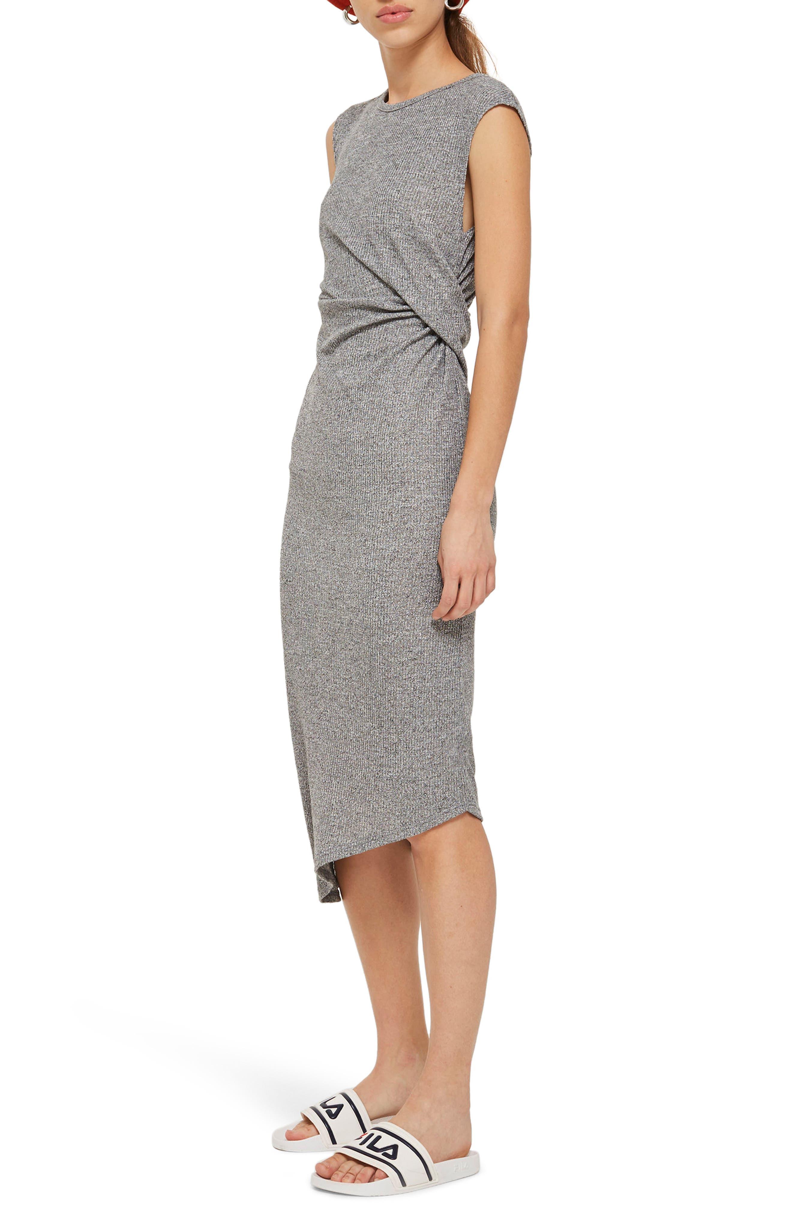 Side Drape Maxi Dress,                             Alternate thumbnail 3, color,                             020