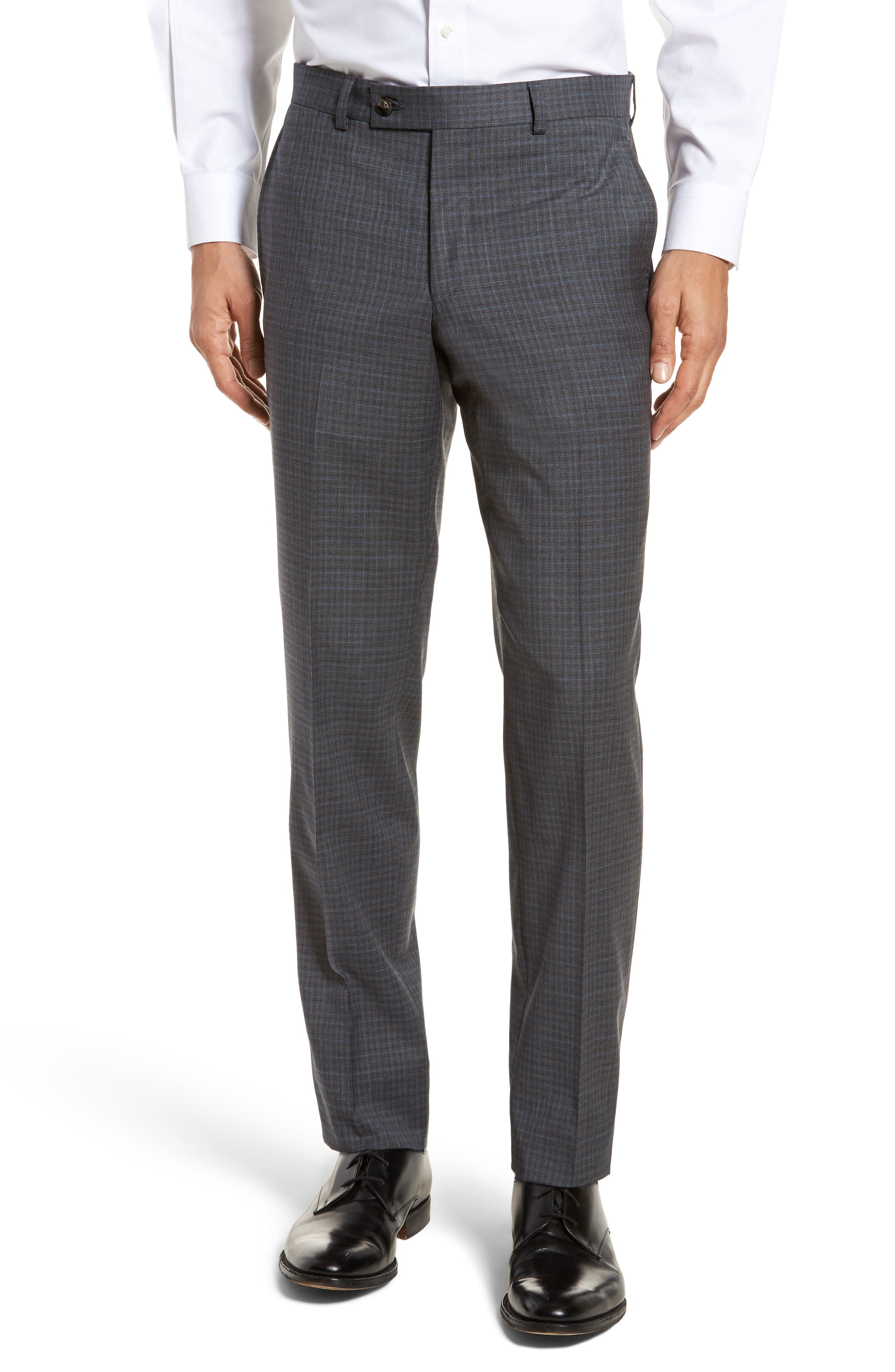 Jefferson Flat Front Check Wool Trousers,                             Main thumbnail 1, color,